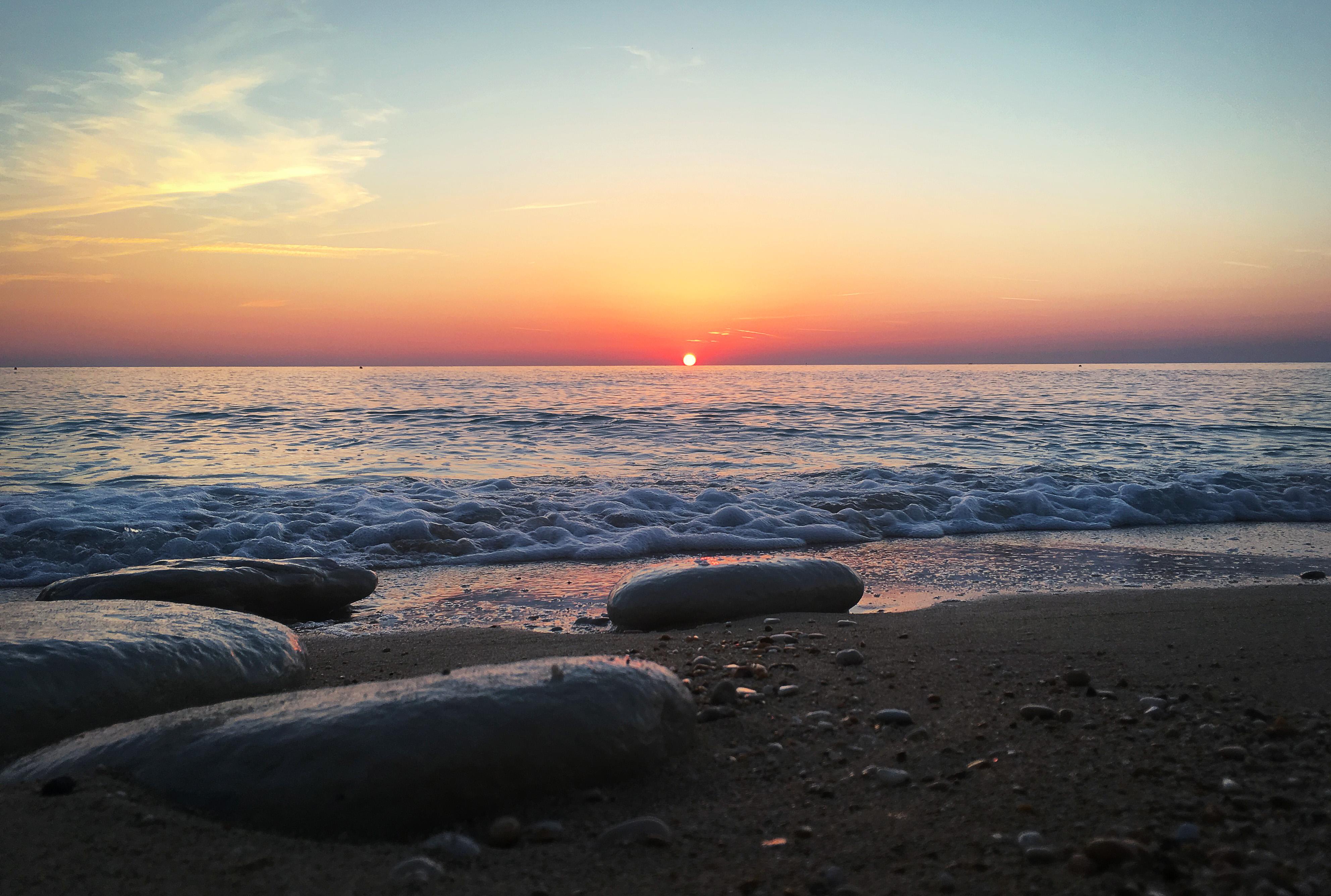Beautiful Sunrise over the Adriatic Sea , Sirolo, #Italy, Adriatic, Ocean, Water, View, HQ Photo