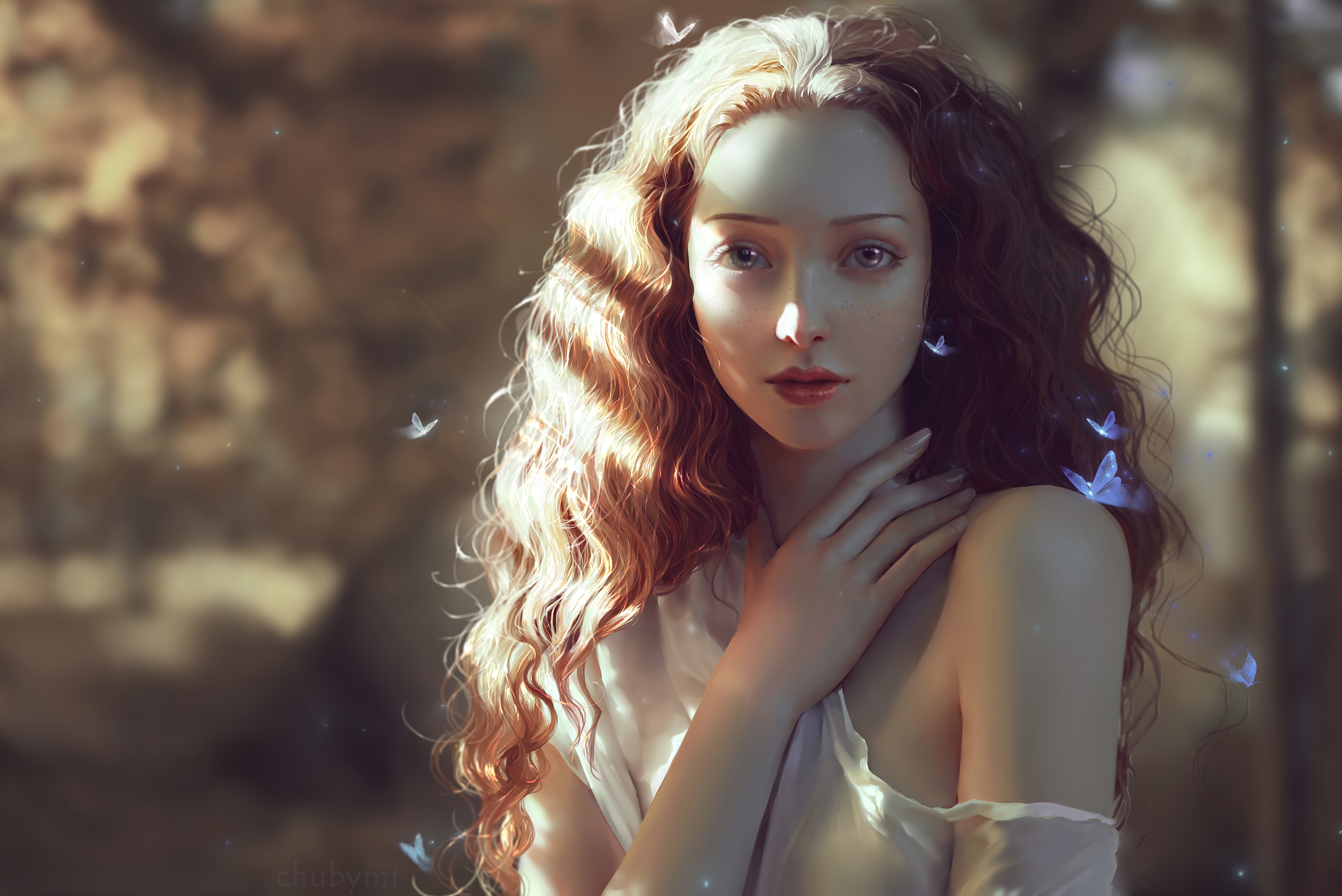 Wallpaper Beautiful woman, Girl, Teen, Butterflies, Fairy, HD ...