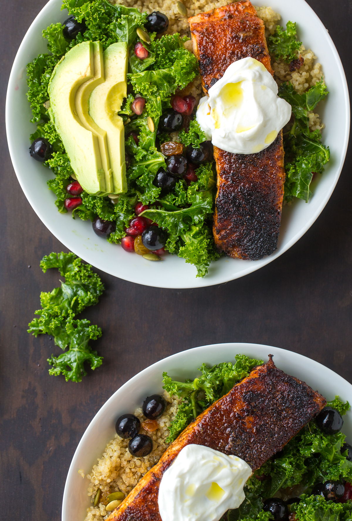 Smokey and Sweet Blackened Salmon Power Salad - TableandDish