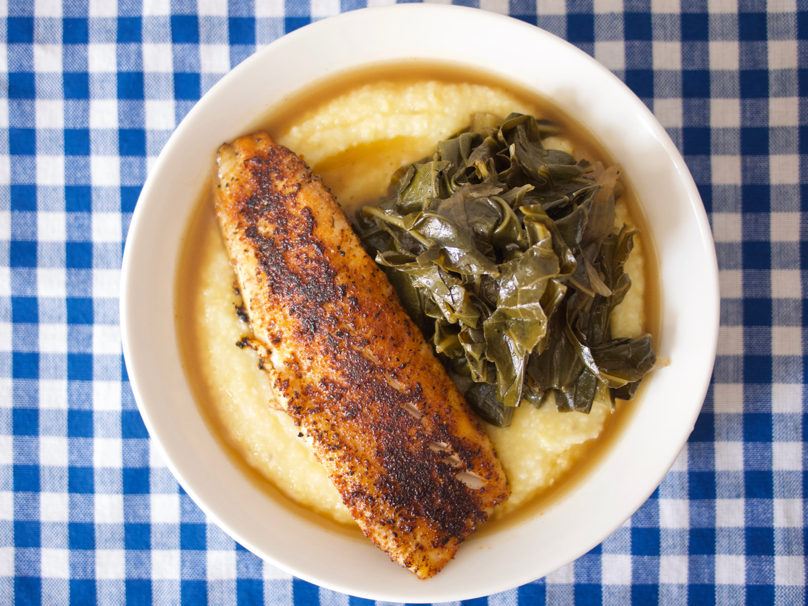 Blackened Fish with Smoky Braised Collards and Polenta Recipe ...
