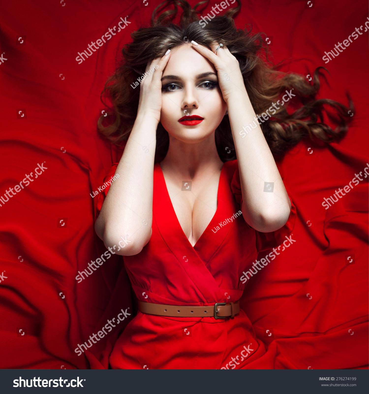 Woman Red Dress Posing Waving Fabric Stock Photo 276274199 ...