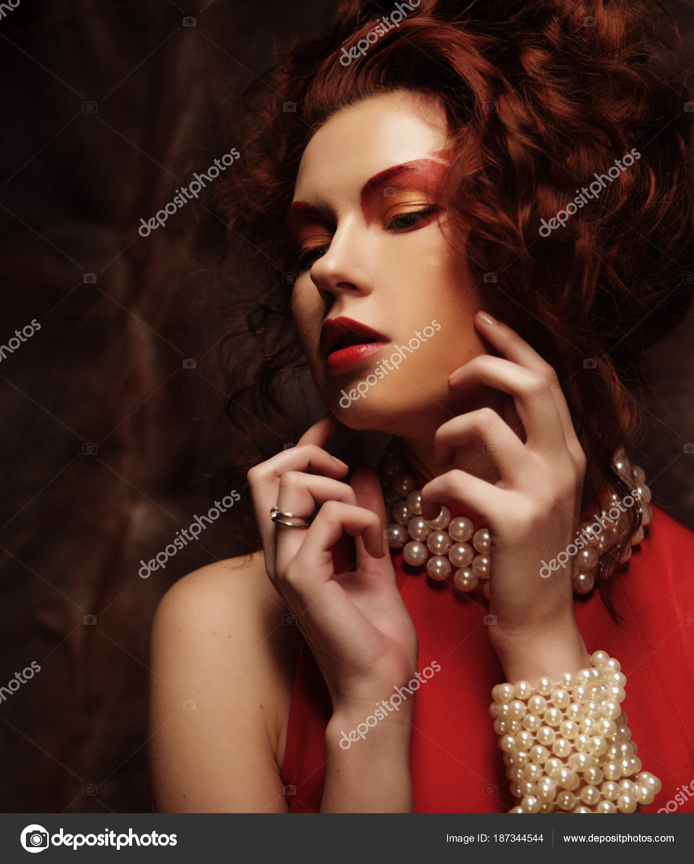 Sexy young beauty brunette woman in red dress — Stock Photo ...
