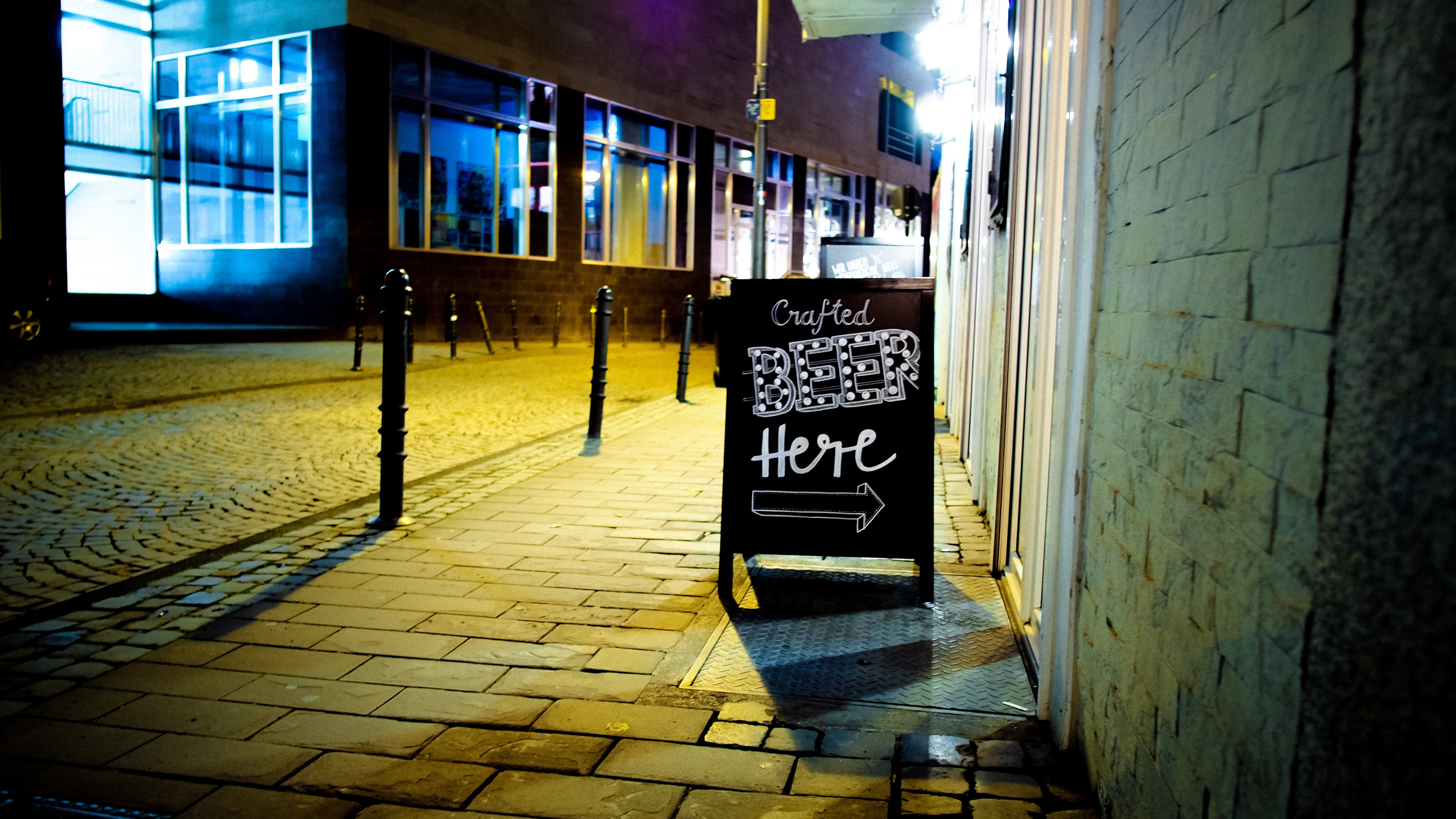 Beer Here Signage, Architectural design, Glass items, Urban, Street, HQ Photo