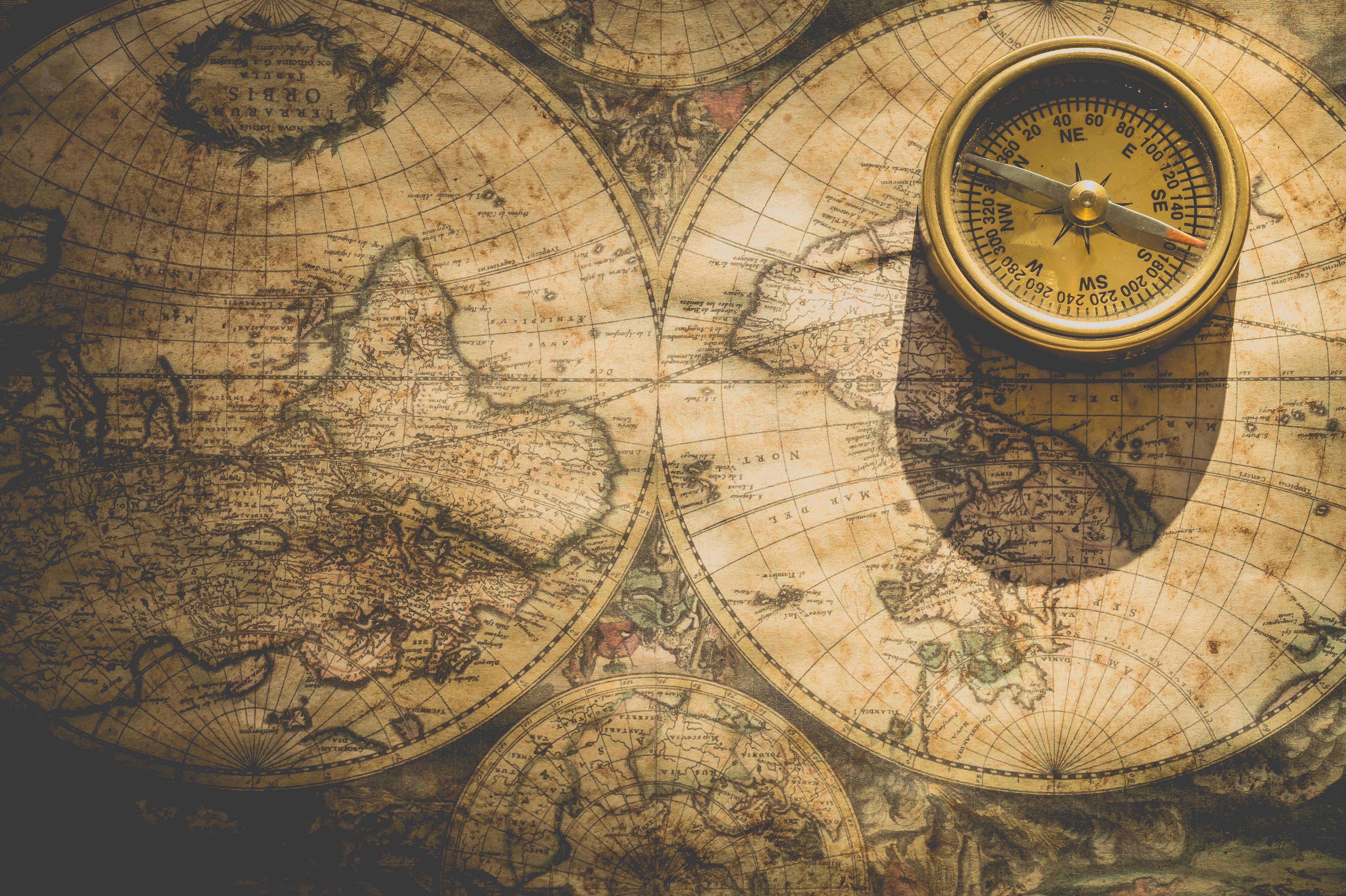 Beige analog compass photo