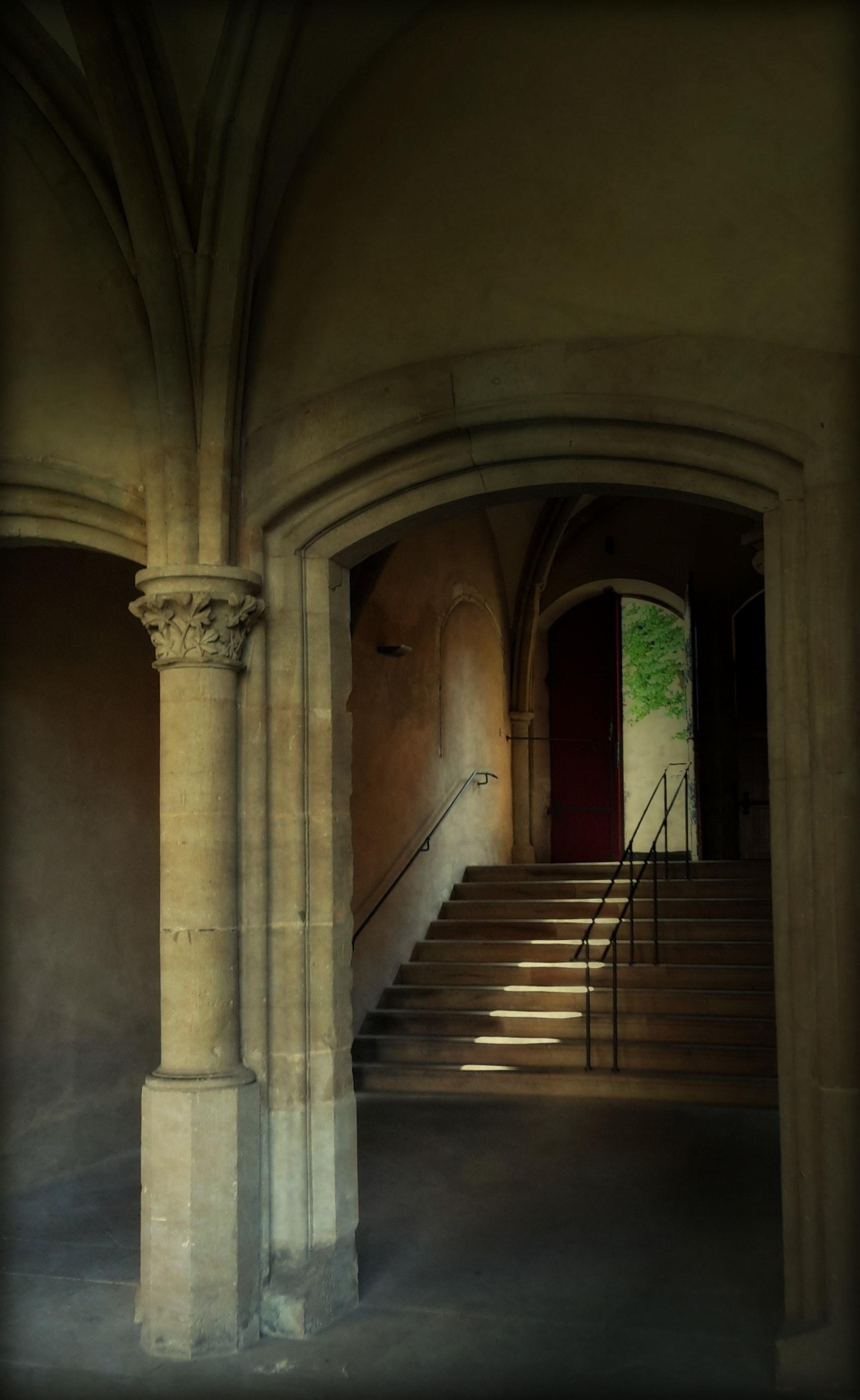 Beige stone stairway by brown door photo