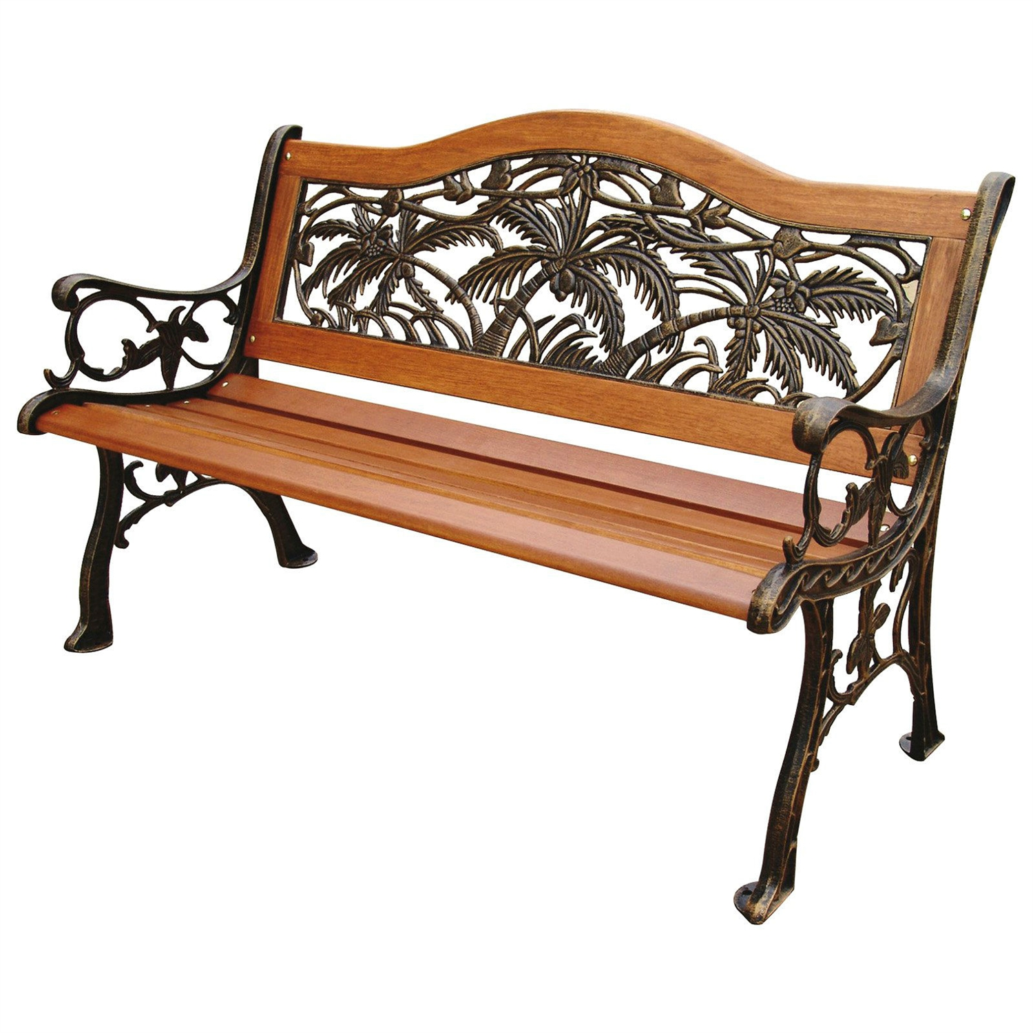 Classic Outdoor 4-ft Wood Metal Garden Bench with Bronze Palm Tree ...