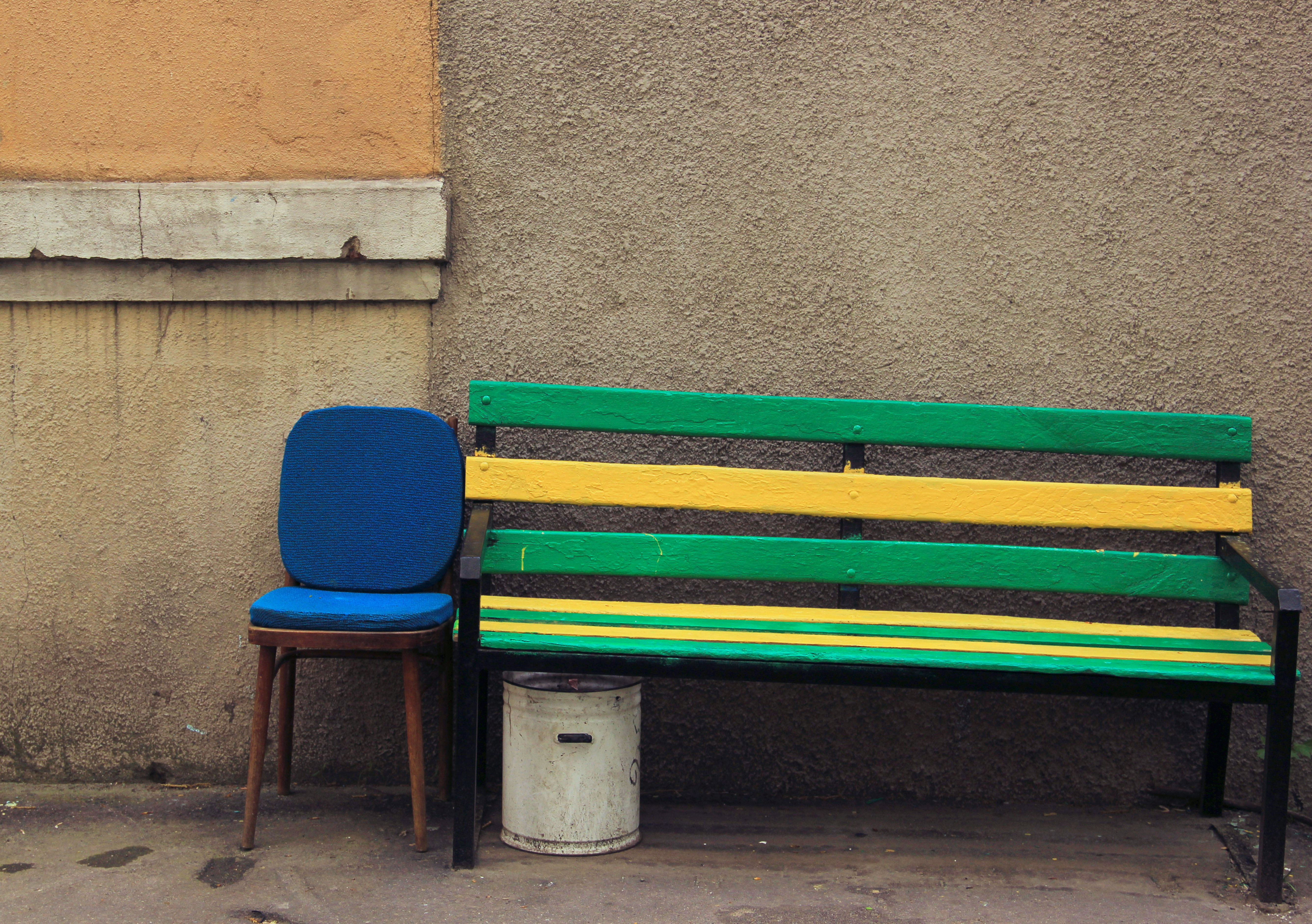 bench, Yellow, Seat, Wooden, Wall, HQ Photo