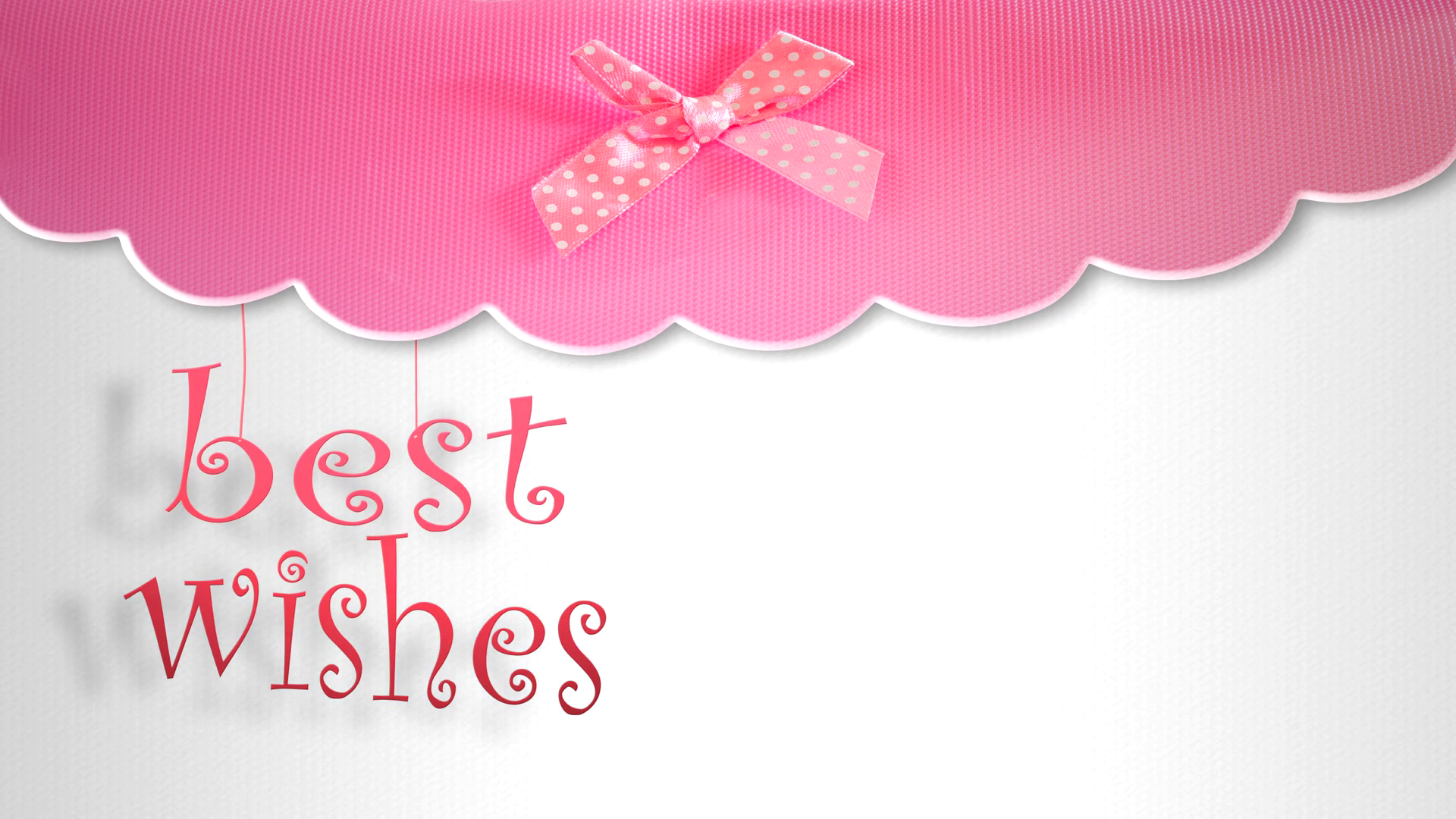 animation of pink best wishes card with animated scrolling text ...