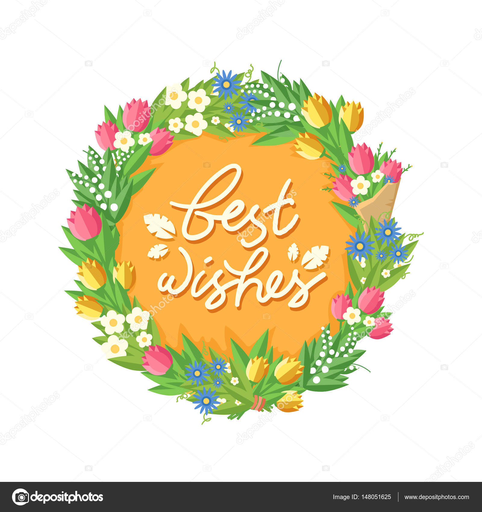 Flower wreath with Best Wishes headline — Stock Vector © Creatarka ...