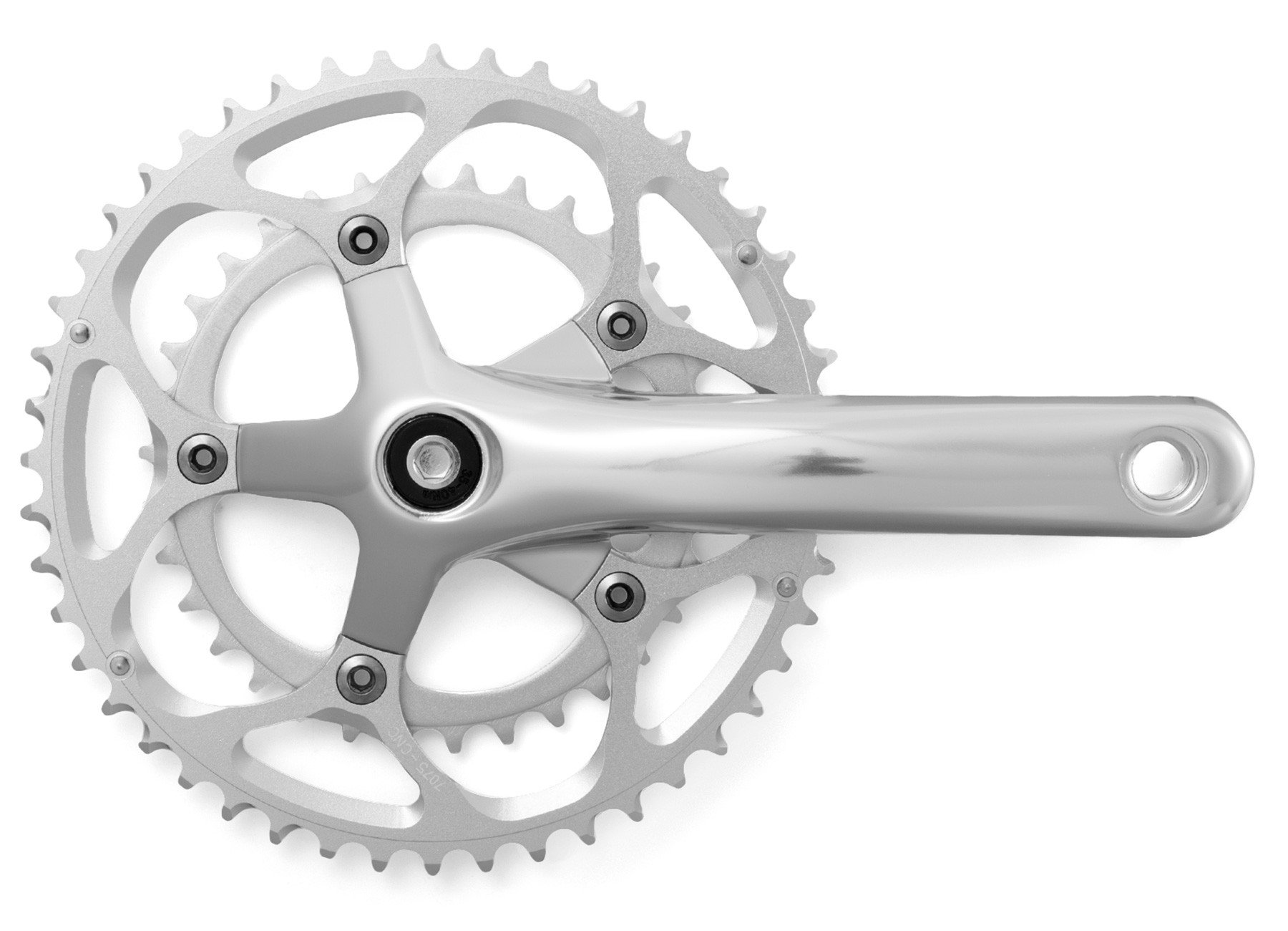Compact Double Crank Set 48 / 34 Chainrings Silver – Handsome Cycles