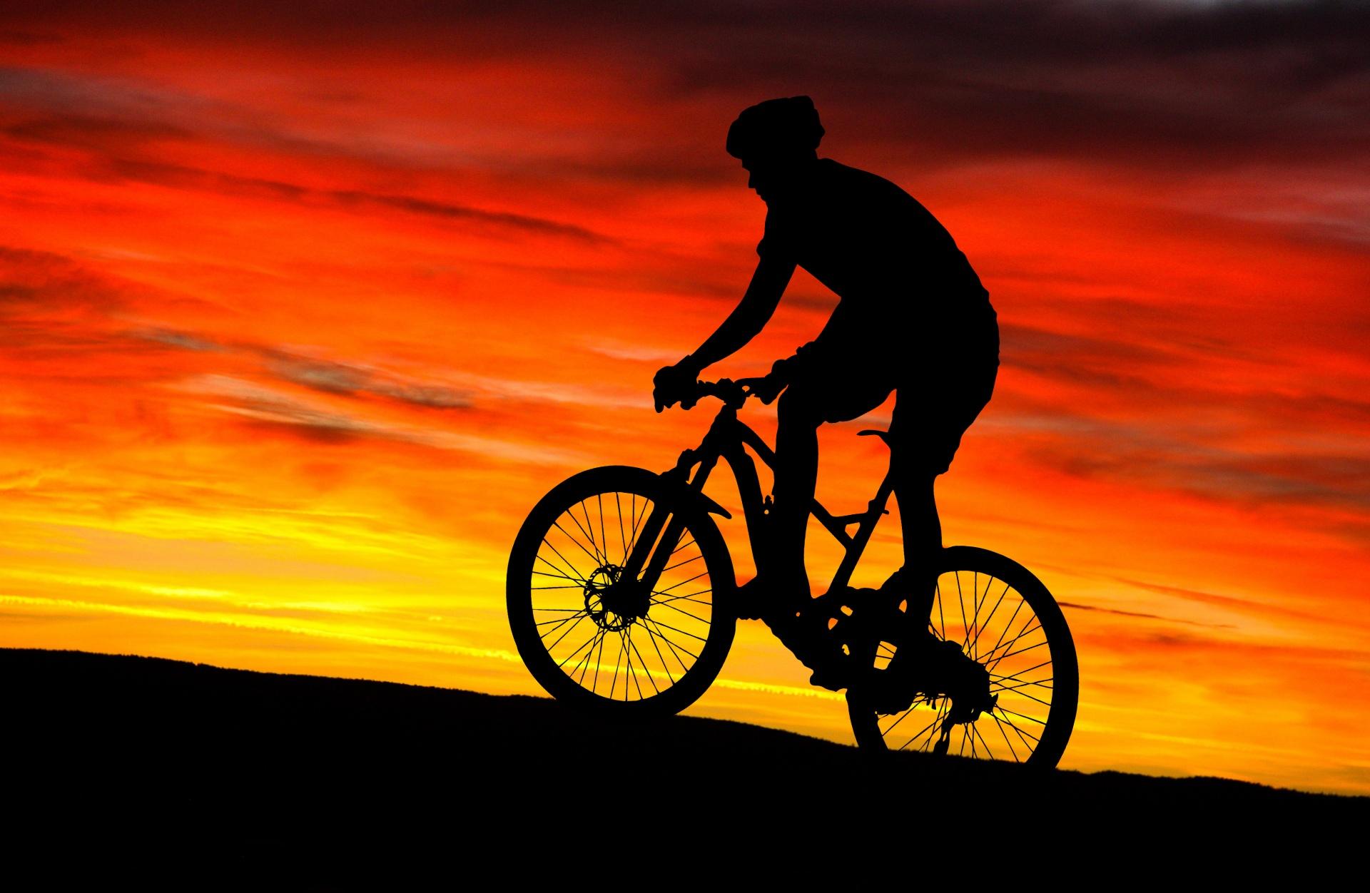 Mountain Bike Rider Sunset Free Stock Photo - Public Domain Pictures