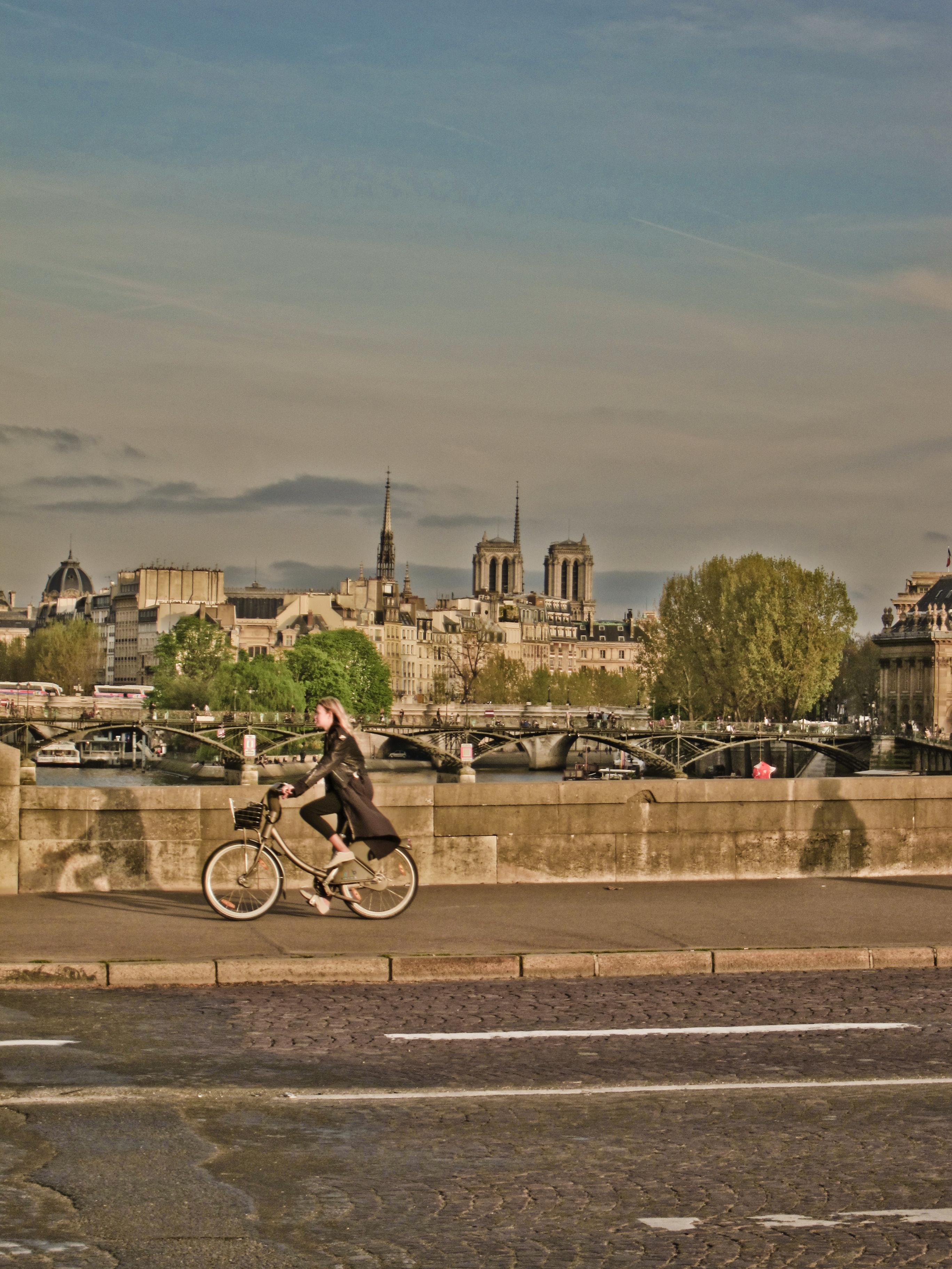 Bicycle Rider, Bicycle, Bridge, France, Paris, HQ Photo