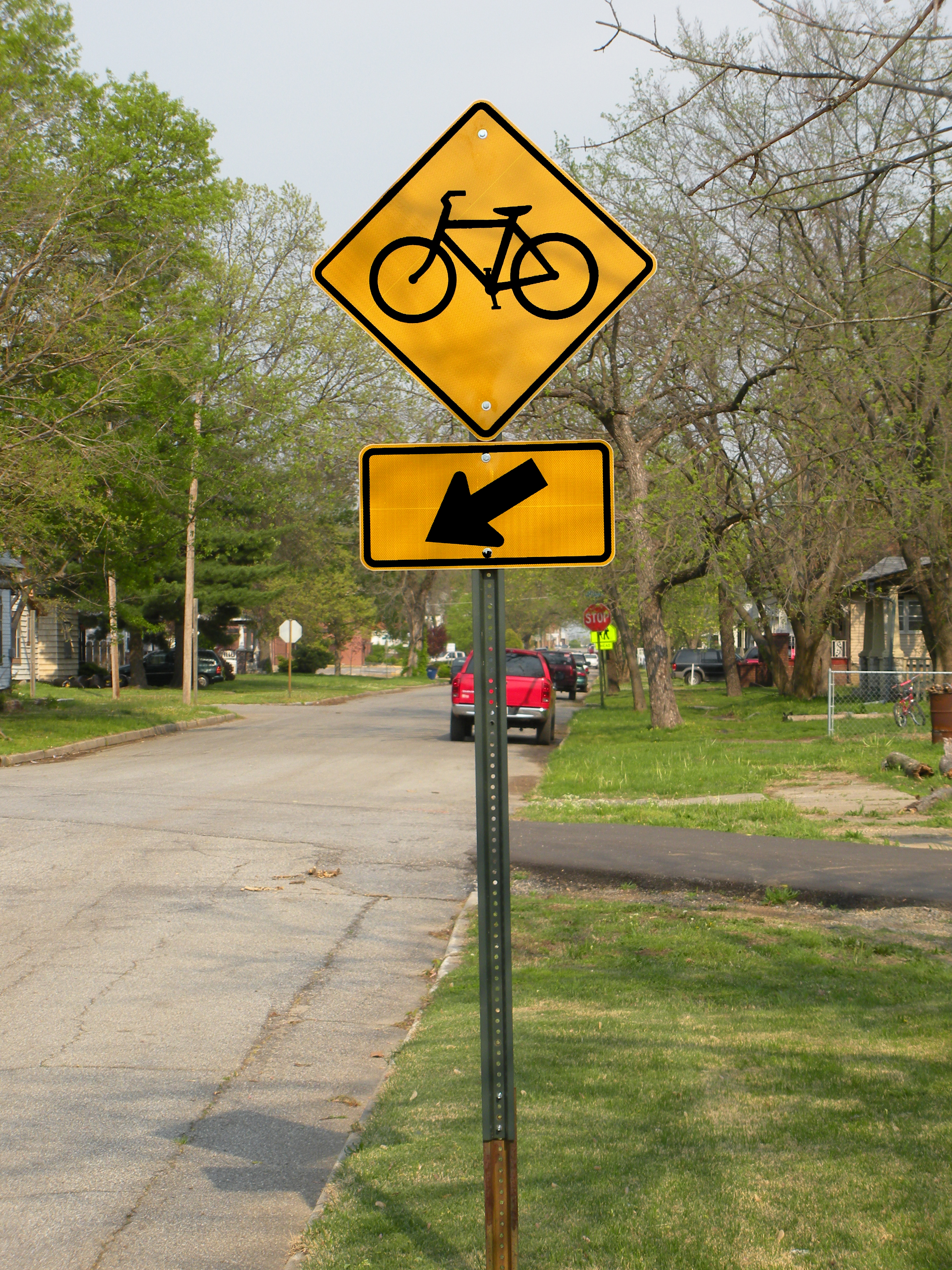 Bicycle sign along street, Arrow, Post, Town, Signage, HQ Photo