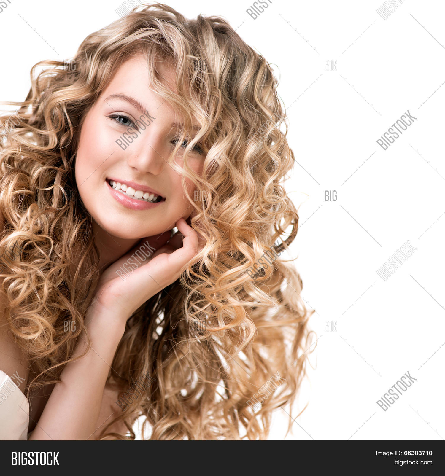 Beauty Girl Blonde Curly Hair. Image & Photo | Bigstock