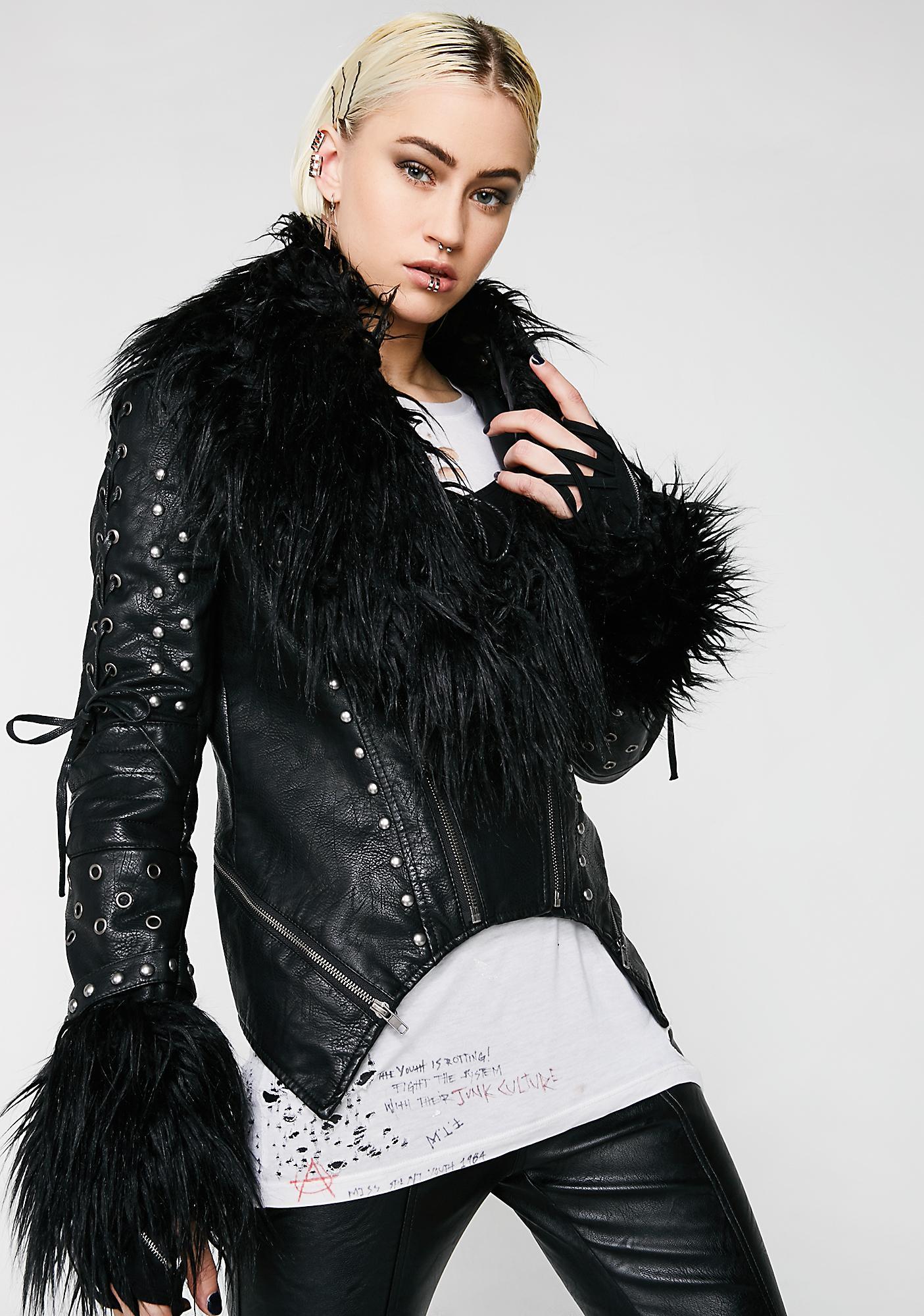 Killstar Ragnarok Fur Biker Jacket | Dolls Kill