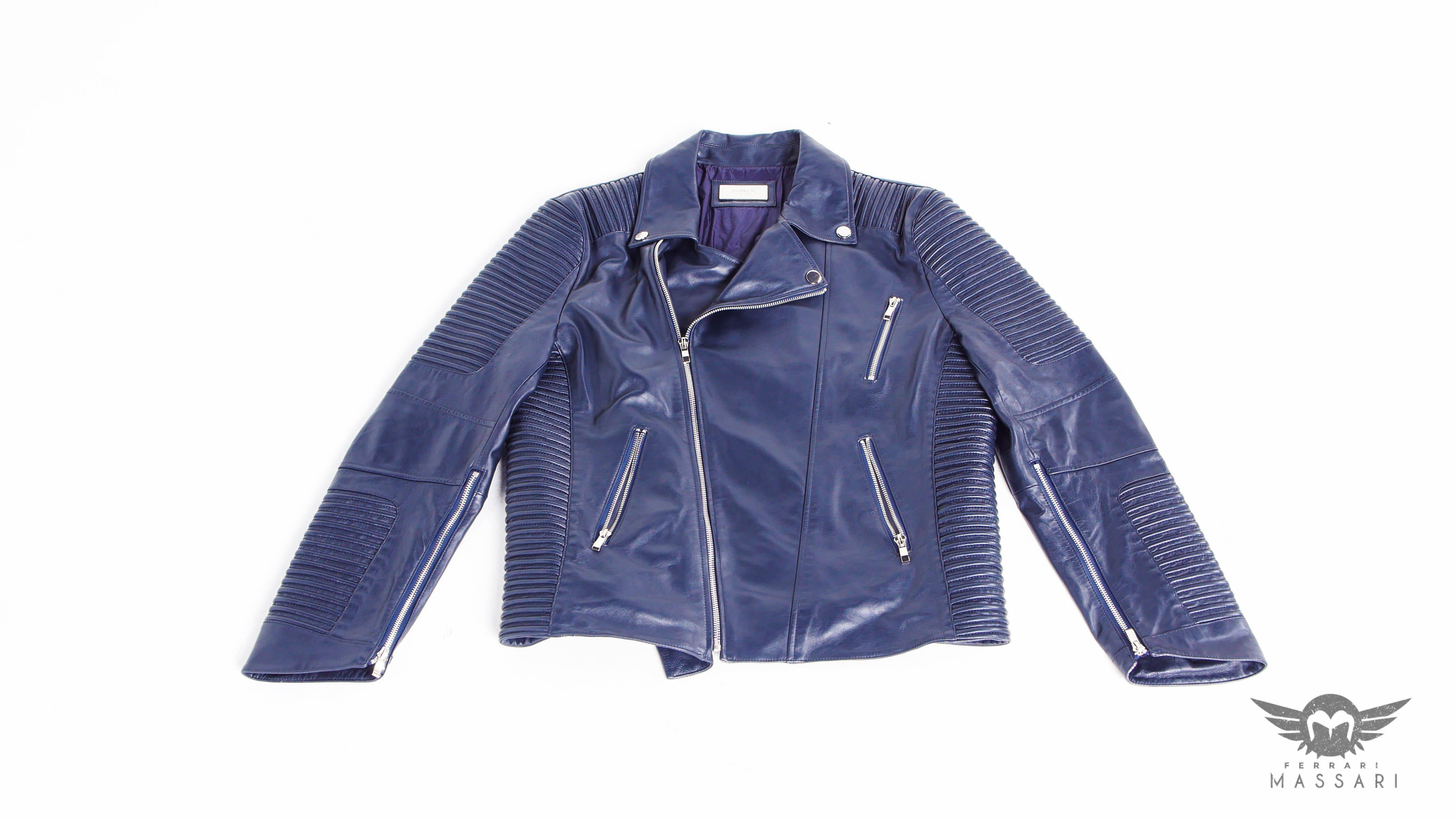 Gods slave biker jacket in navy – Ferrari Massari