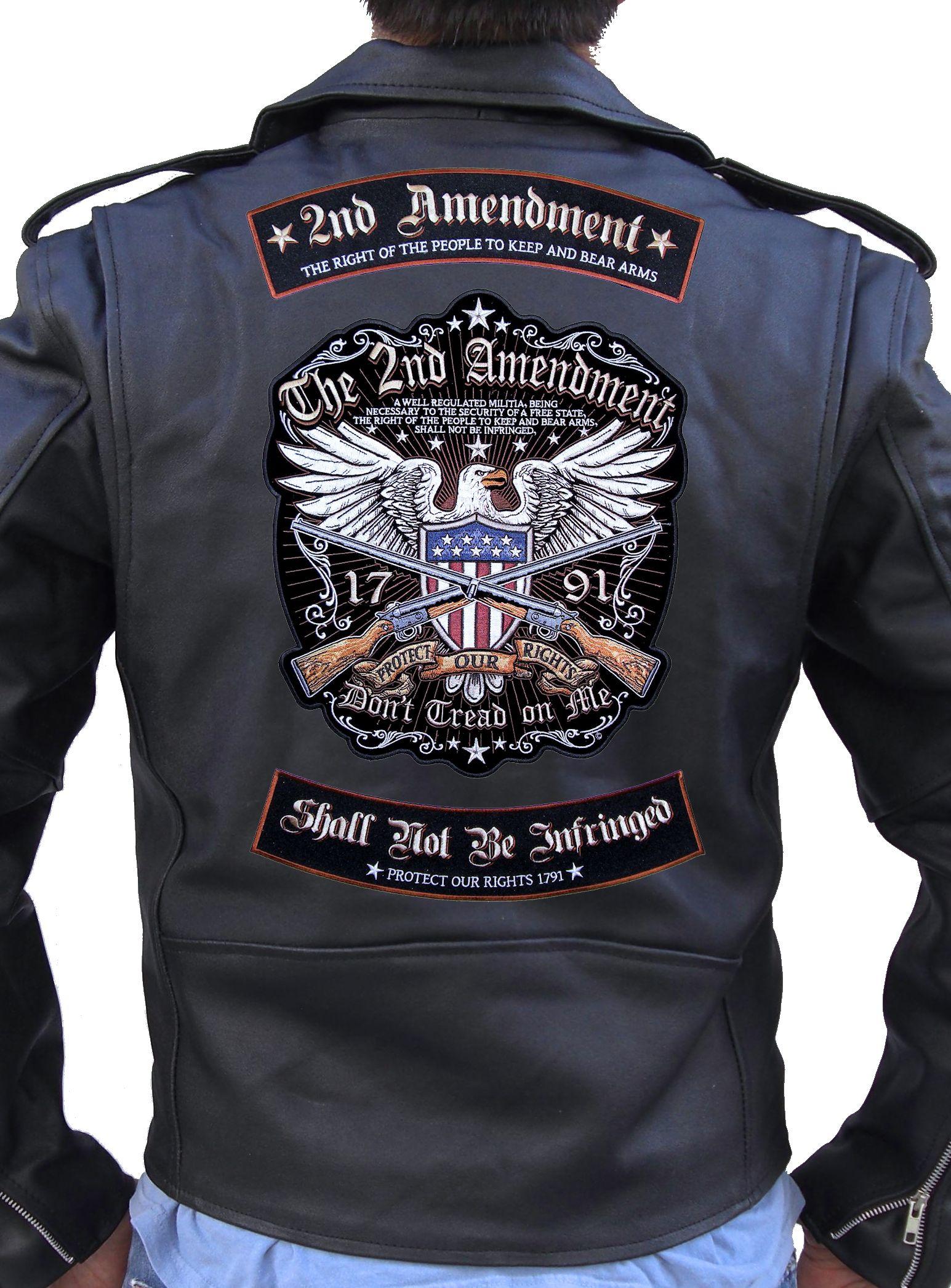 Patriotic The 2nd Amendment Rights 3 Pc Rocker Set Biker Patch ...