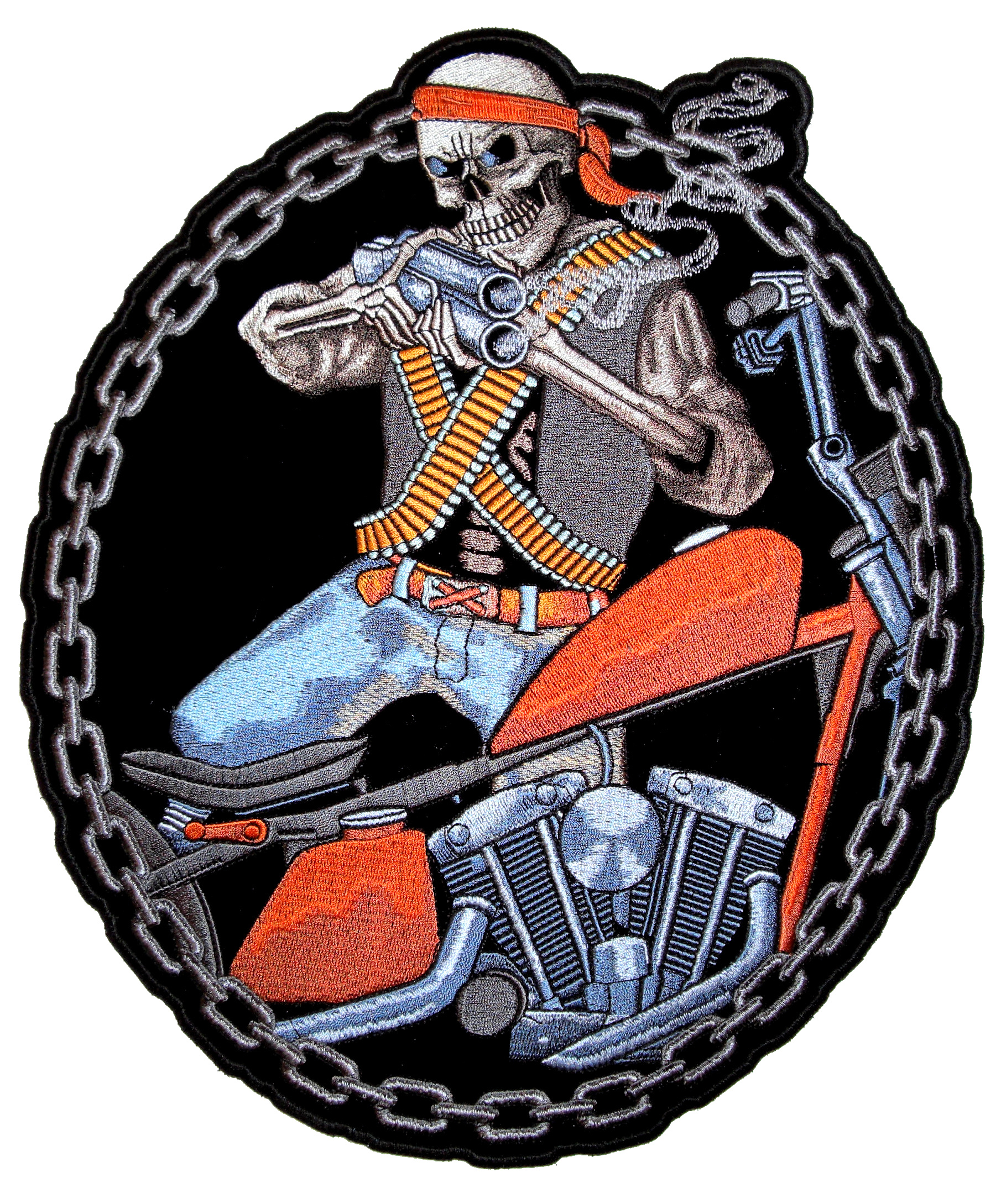 Mercenary Skeleton Biker Shooting Gun Motorcycle Patch – Quality ...