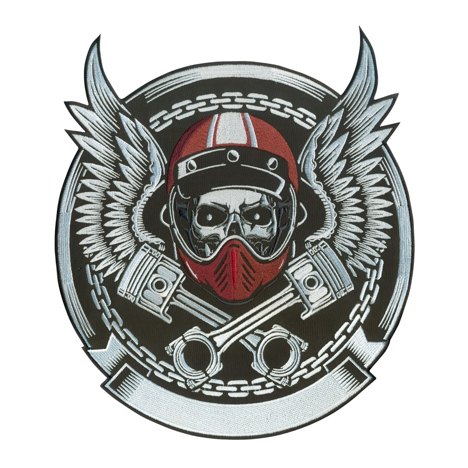 Embroidered Vintage Biker Skull With Crossed Piston Emblem (6 - 11 ...