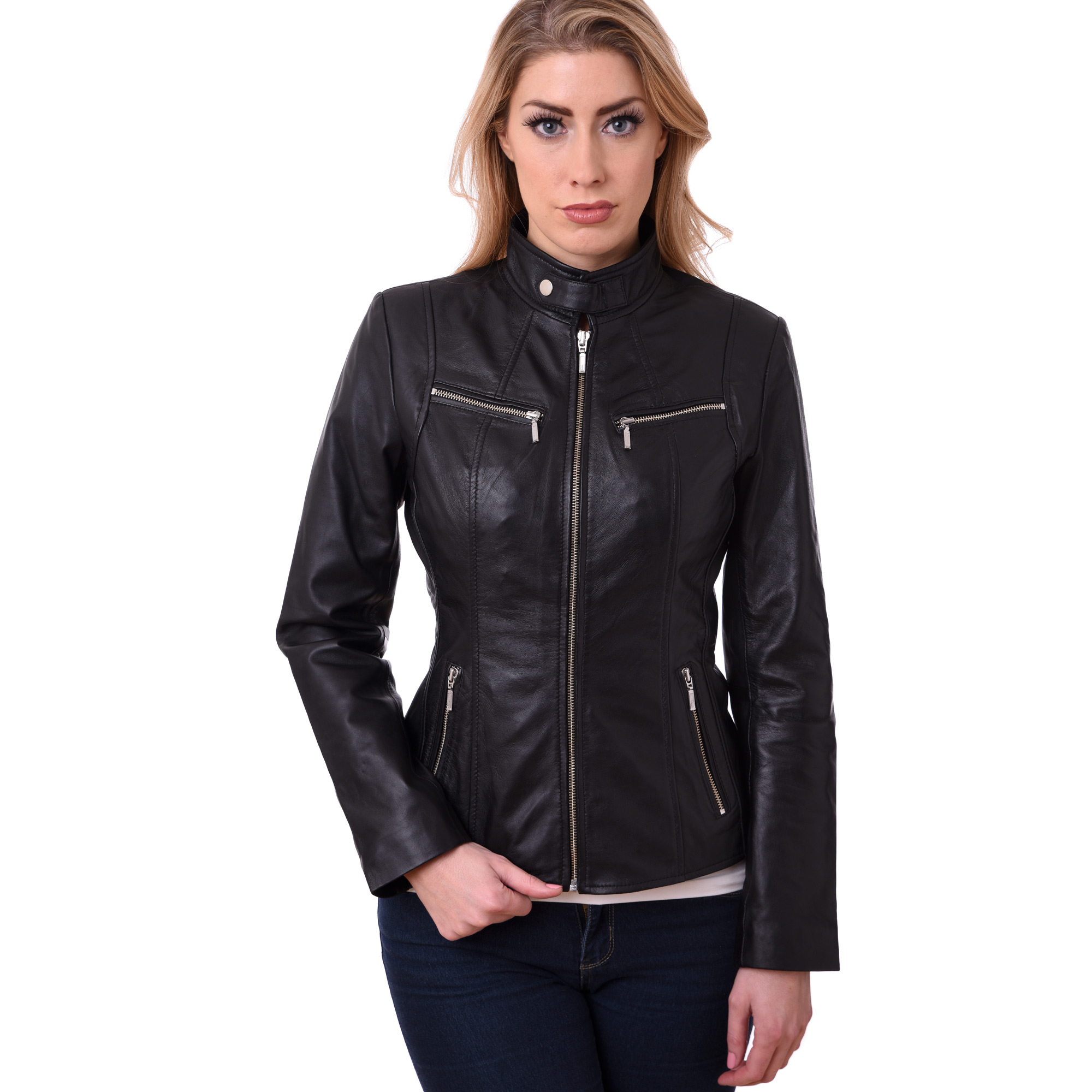 Leather Jacket Biker Style Women Ladies Soft sheep Nappa 100 ...