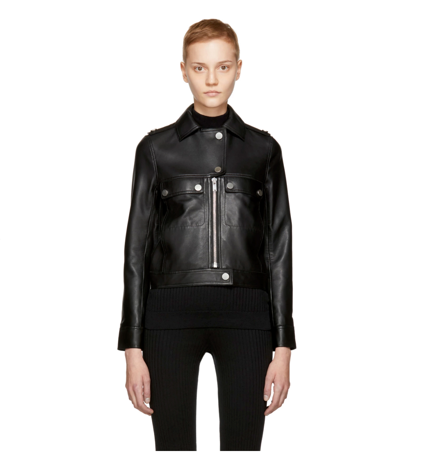 Courrèges - Black Leather Biker Jacket - Sodafirm