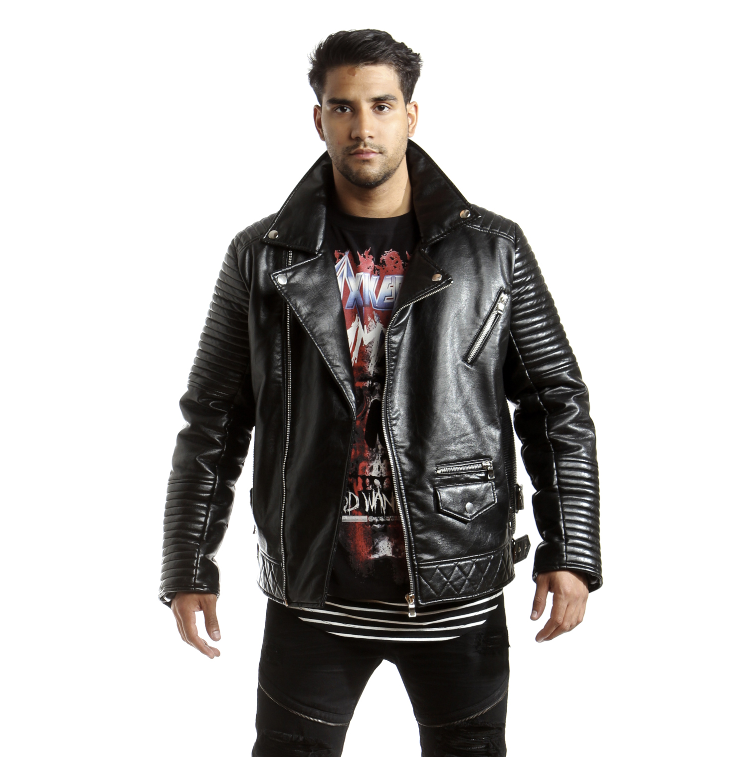 Smoke Rise Men's Vegan Leather Biker Jacket | eBay