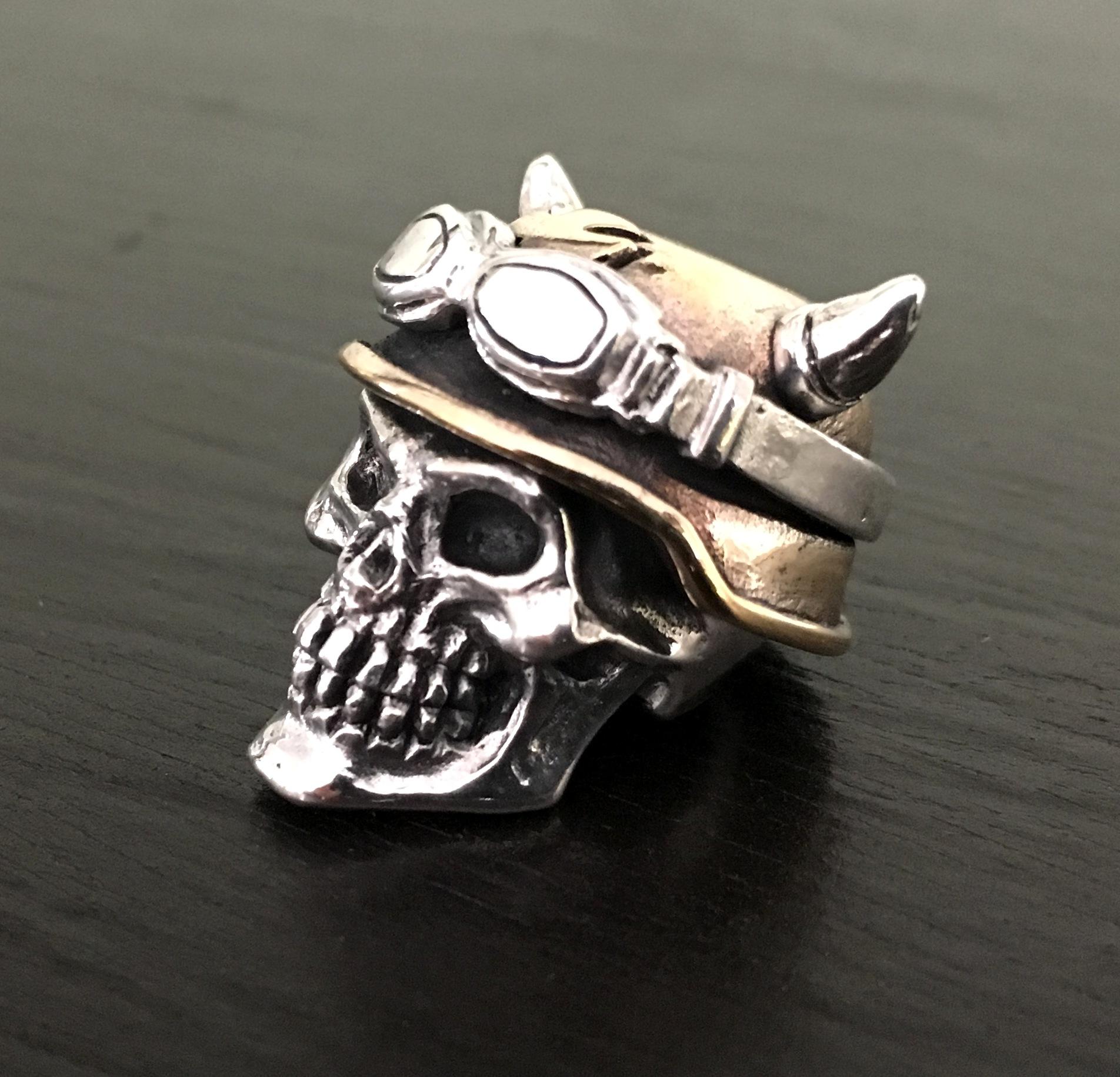 Biker Skull Bead – GD Skulls USA – silver and bronze skull jewelry ...