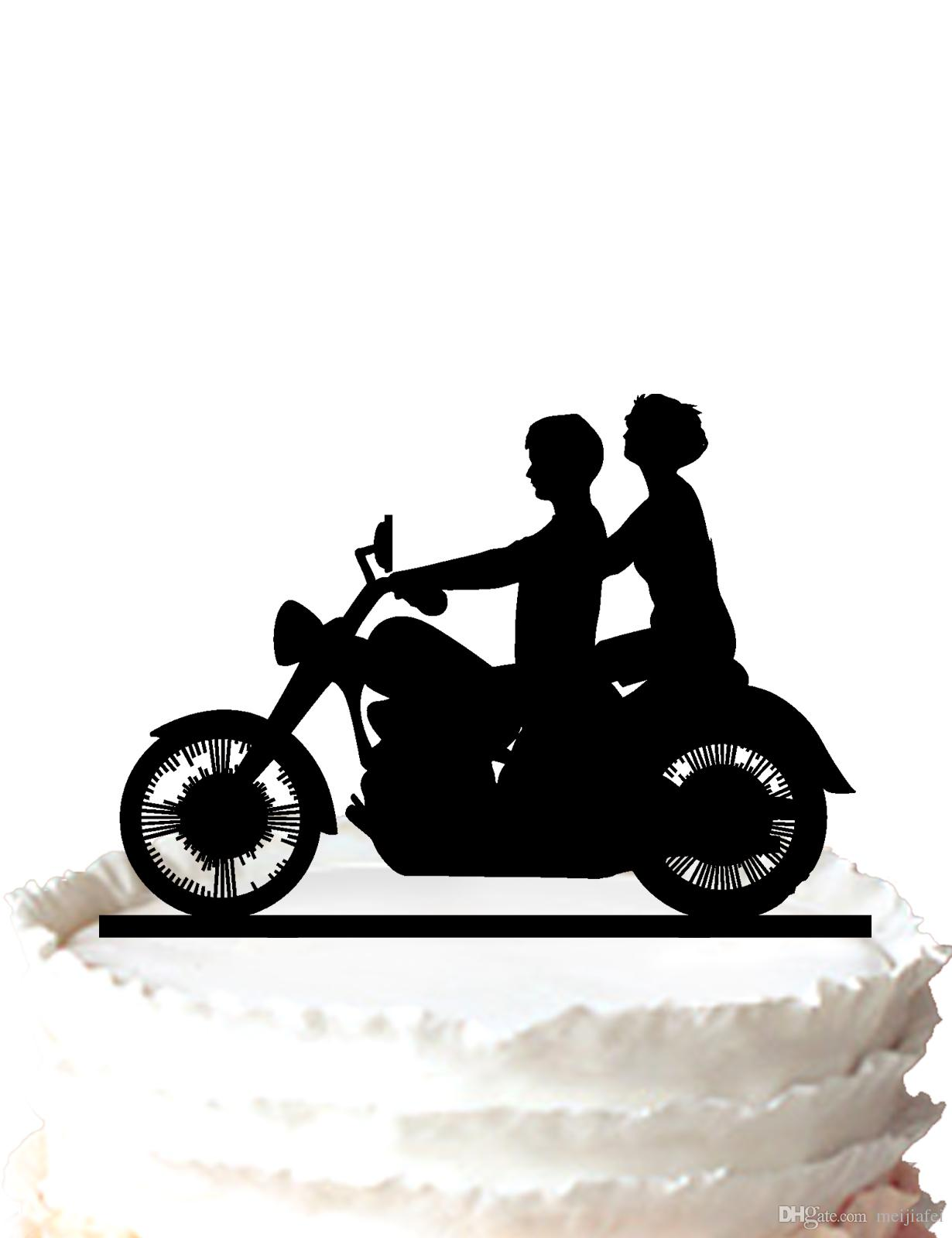 2018 Motorcycle Biker Wedding Acrylic Cake Topper By Magical Day ...