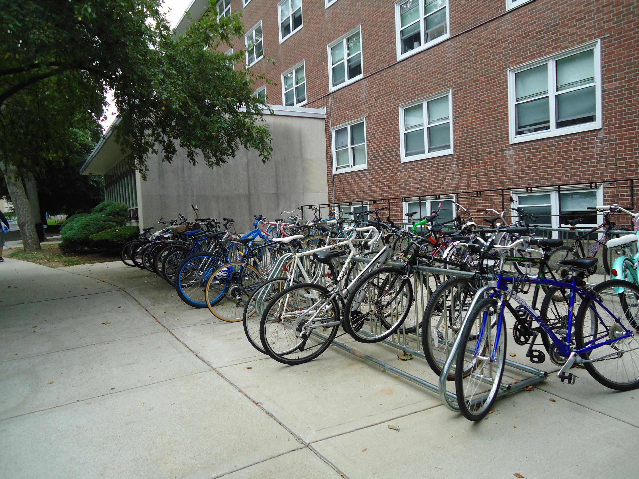 Bikes in a bike rack 2 photo