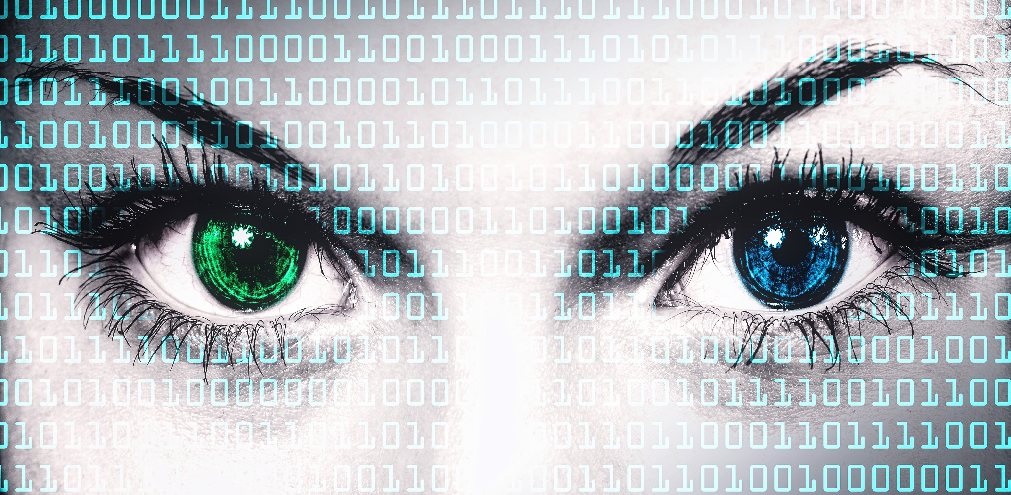 Binary computer code on human face - online privacy concept photo