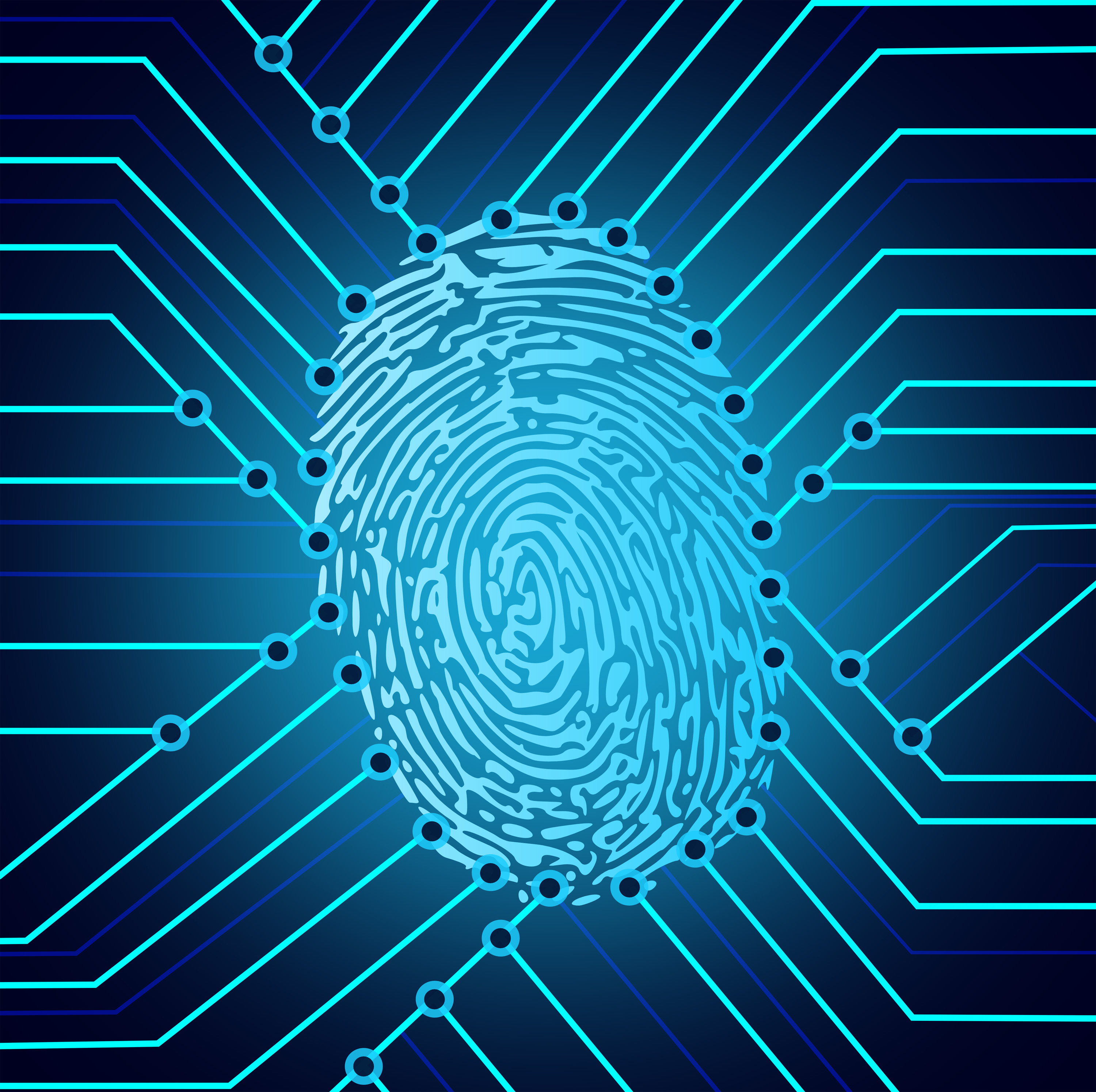 Biometric fingerprint identification, Abstract, Privacy, Scan, Safety, HQ Photo