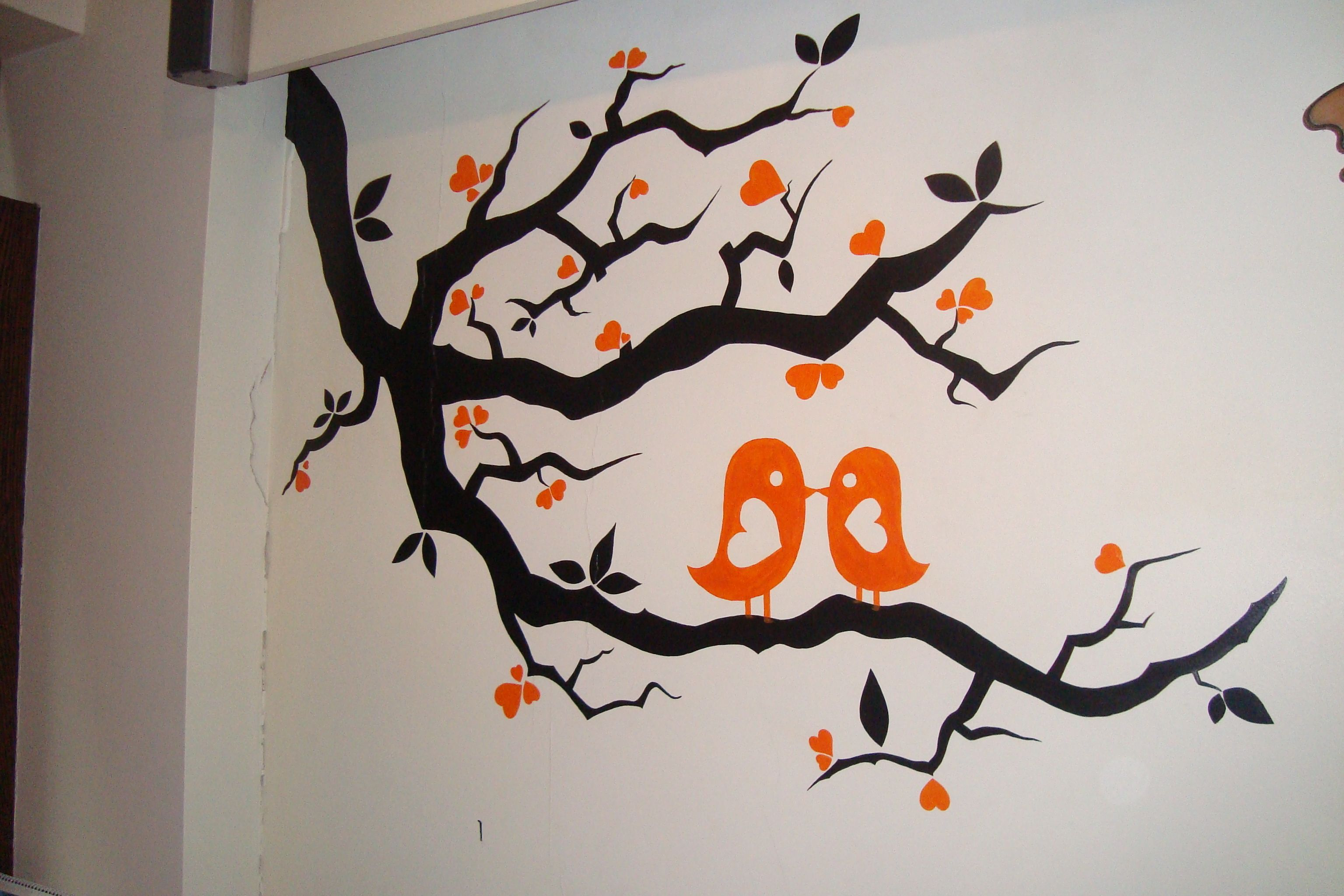 love birds | wall painting at its best | Pinterest