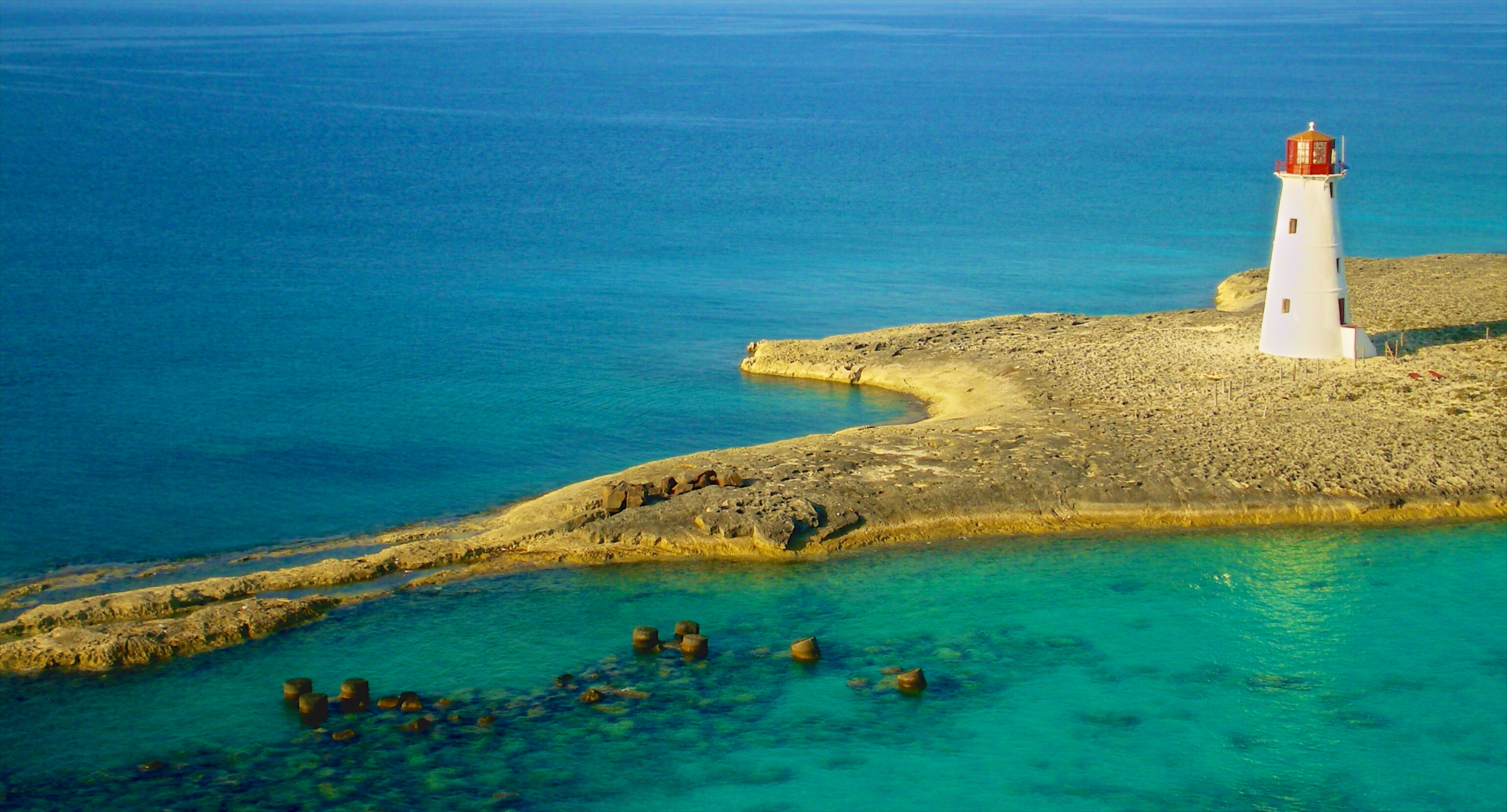 Bird's Eye Photography of White Lighthouse on Island, Bay, Sea, Vacation, Turquoise, HQ Photo