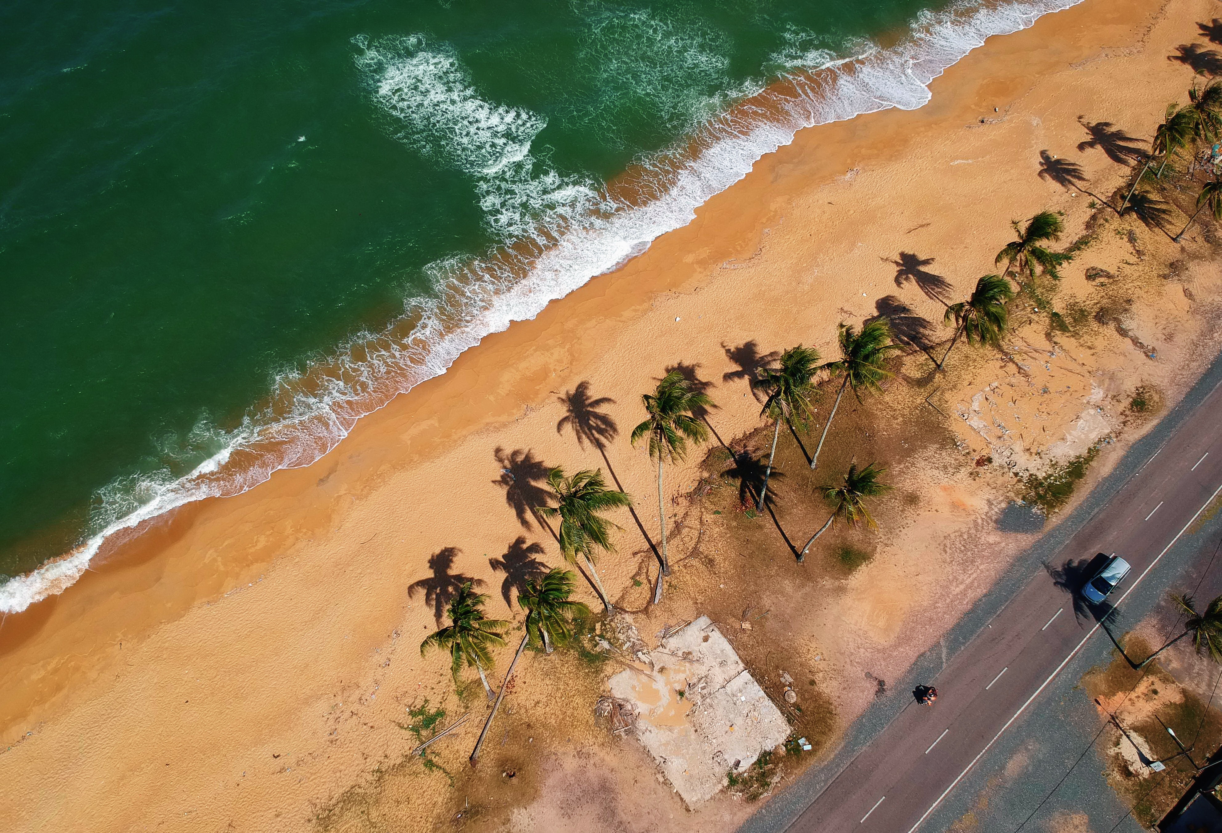 Bird's Eye View of Seashore, Beach, Sand, Water, Surf, HQ Photo