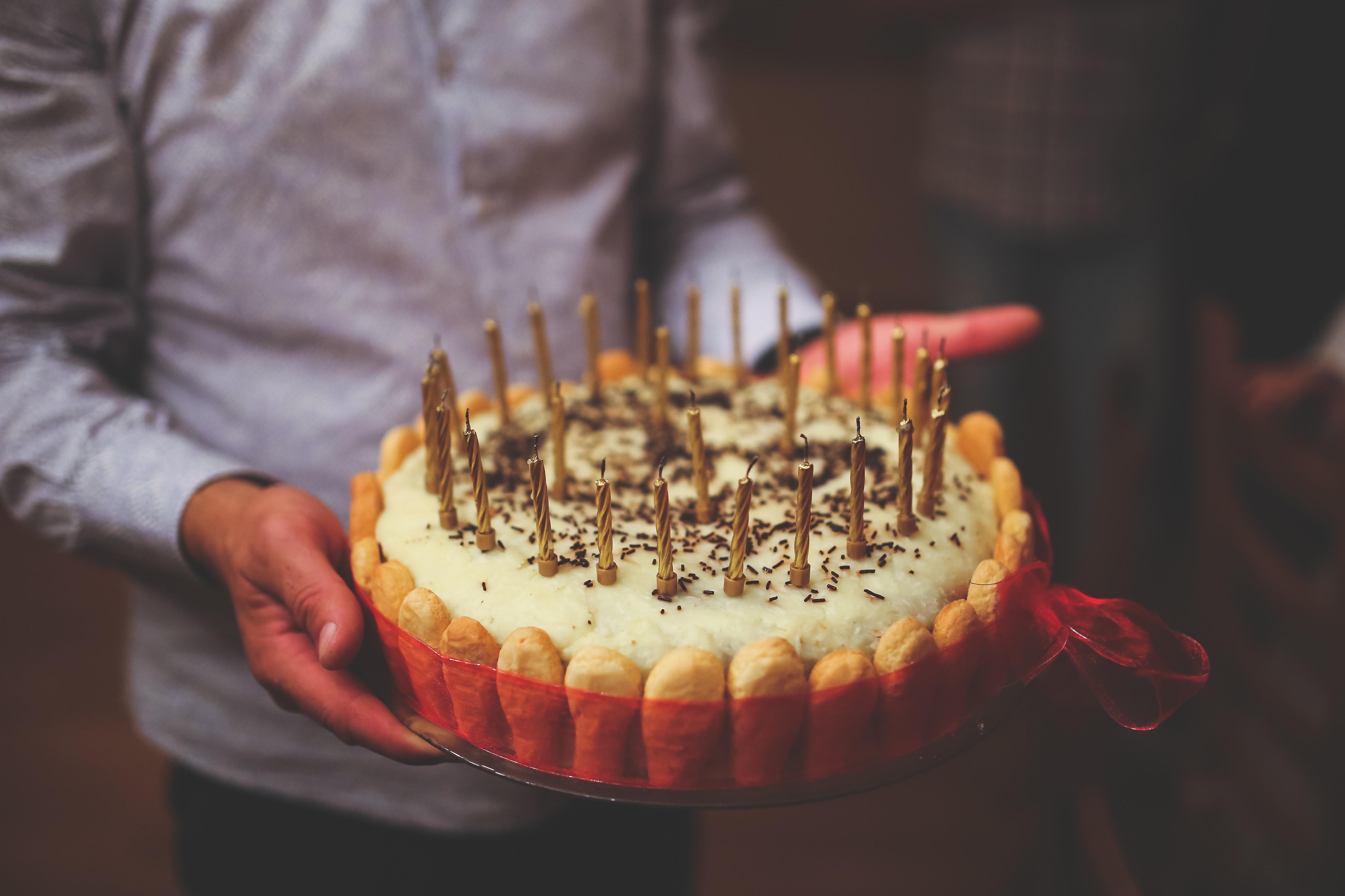 Birthday Cake In Mens Hands Happy Sweet Pie Food HQ