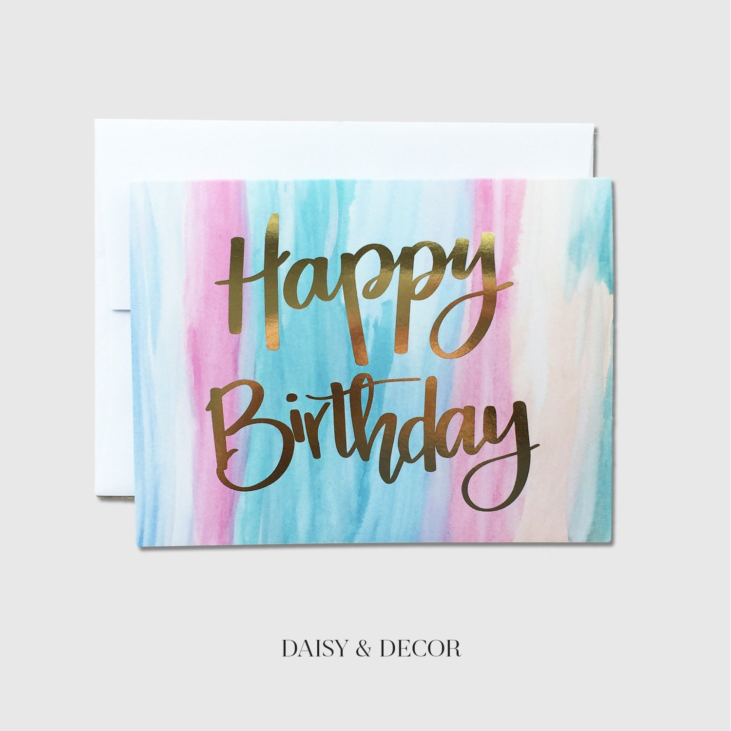 Happy Birthday Watercolor Greeting Card – Daisy and Decor