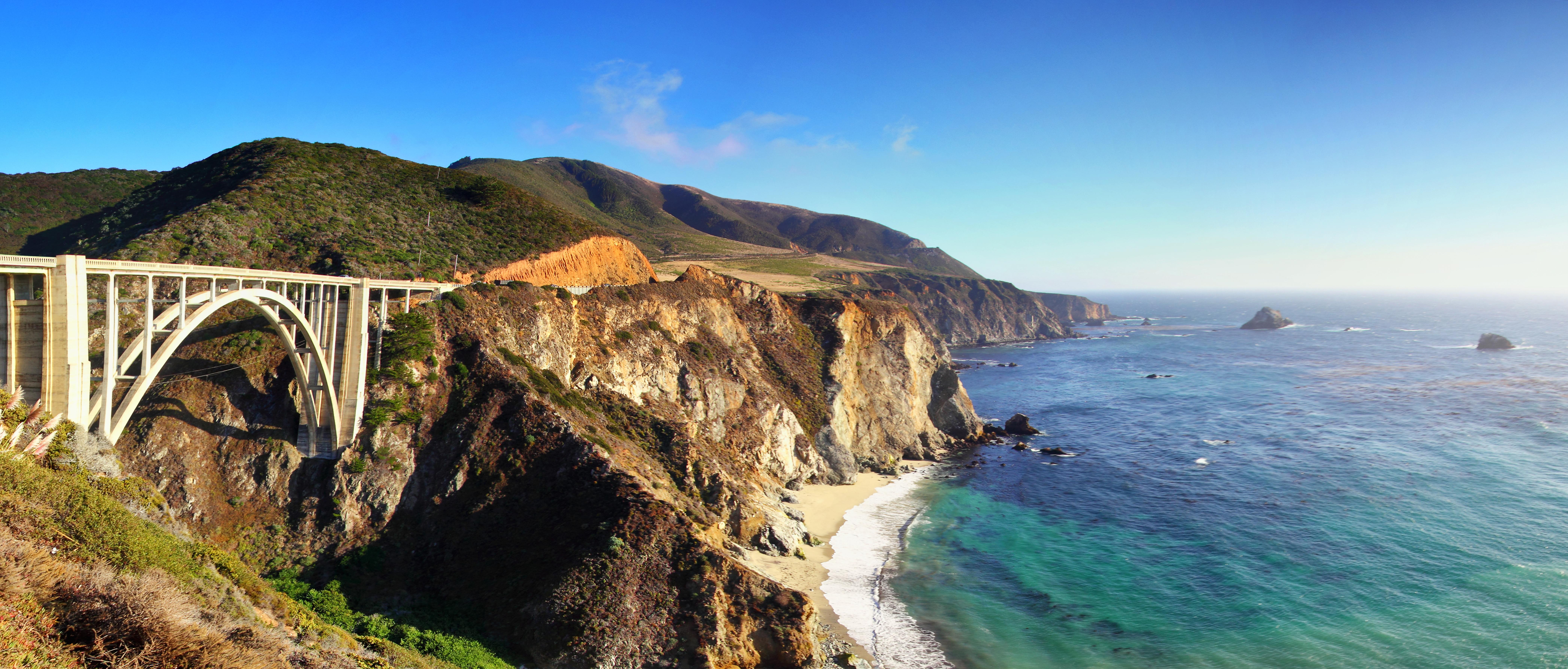Wallpaper : California, bridge, sea, panorama, USA, Sun, southwest ...