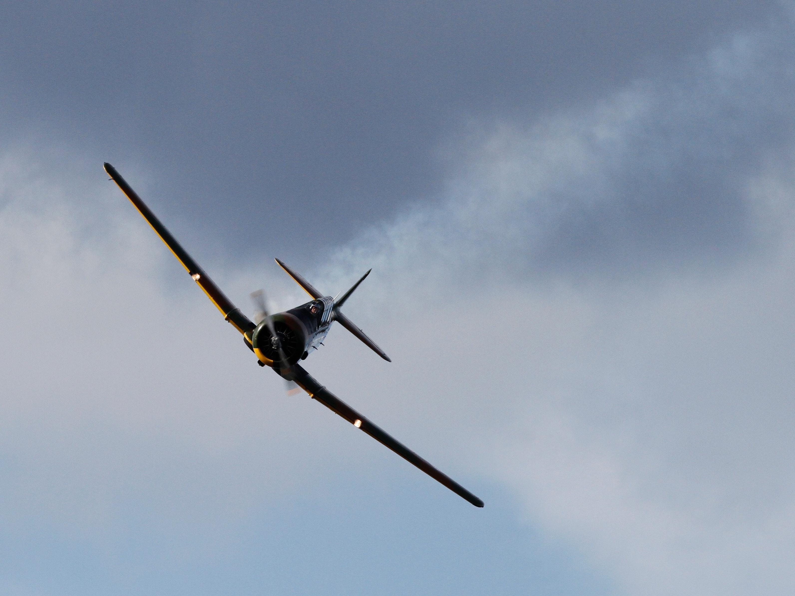 Black Airplane Under Dark Cloud Sky, Aeroplane, Aircraft, Airplane, Aviation, HQ Photo