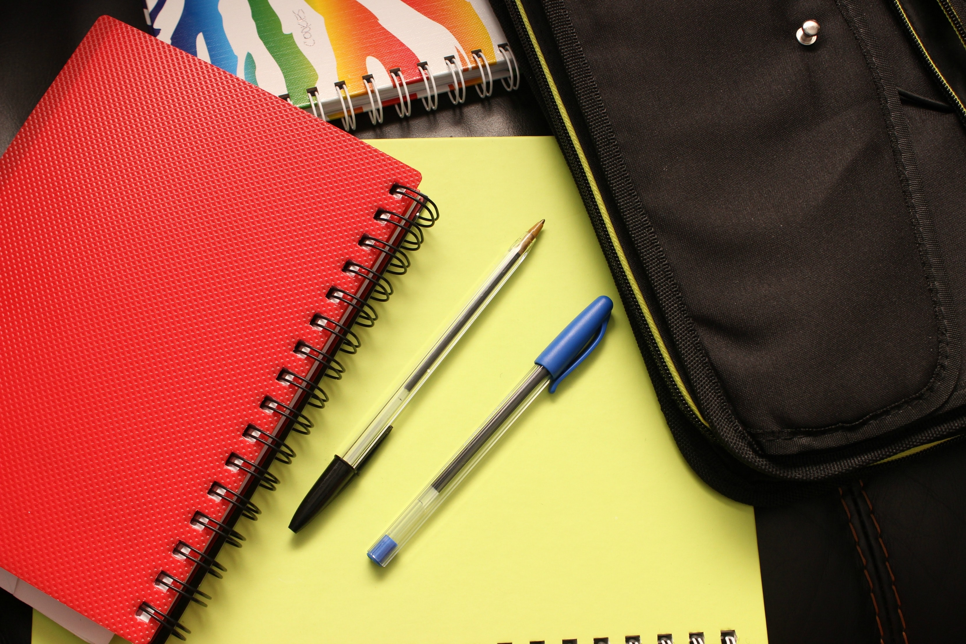 Black and Blue Pens Beside Red Covered Notebook, Bag, Binders, Blank, Document, HQ Photo