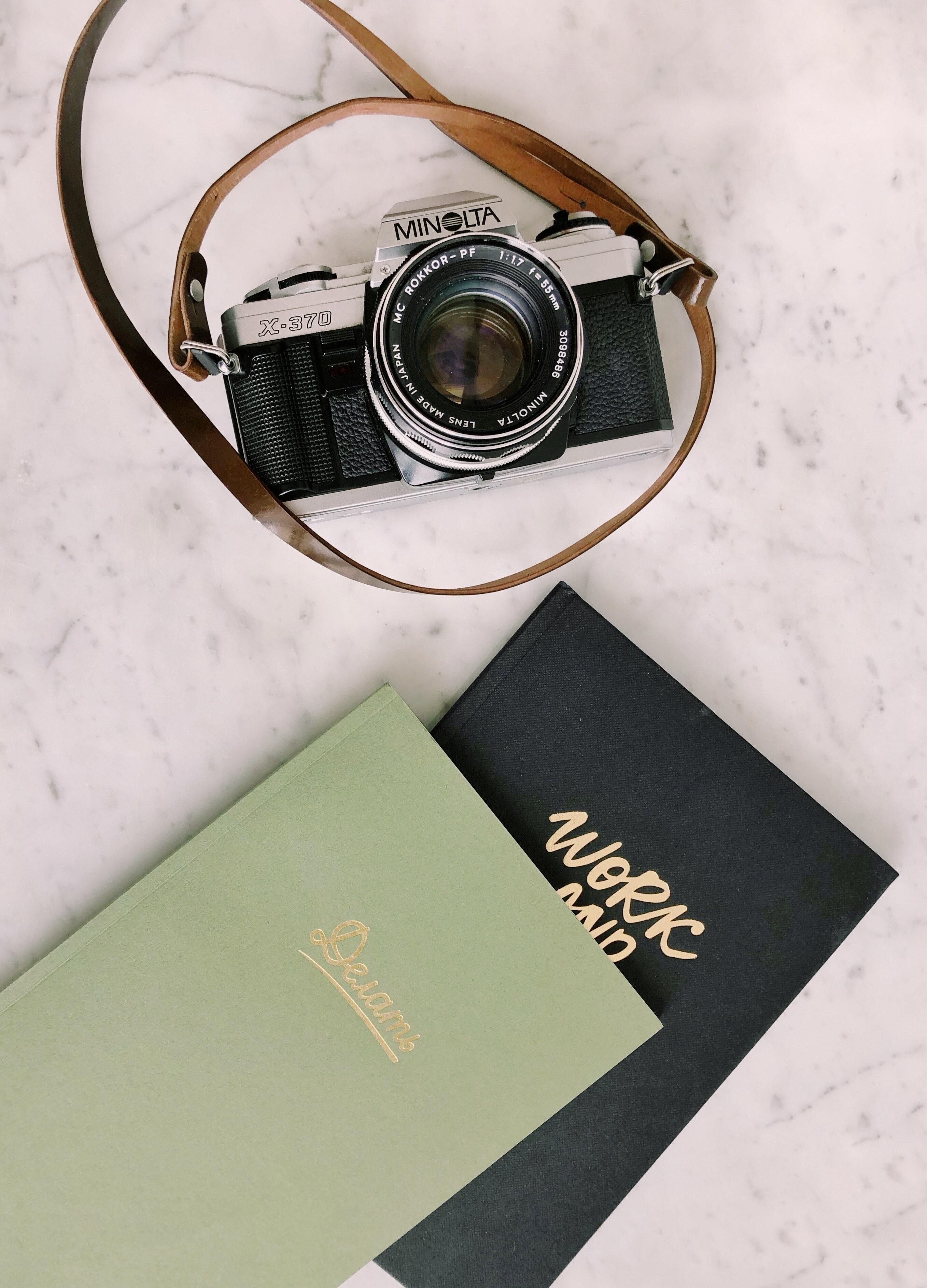 Black and Gray Minolta Milc Camera, Black, Books, Camera, Close-up, HQ Photo