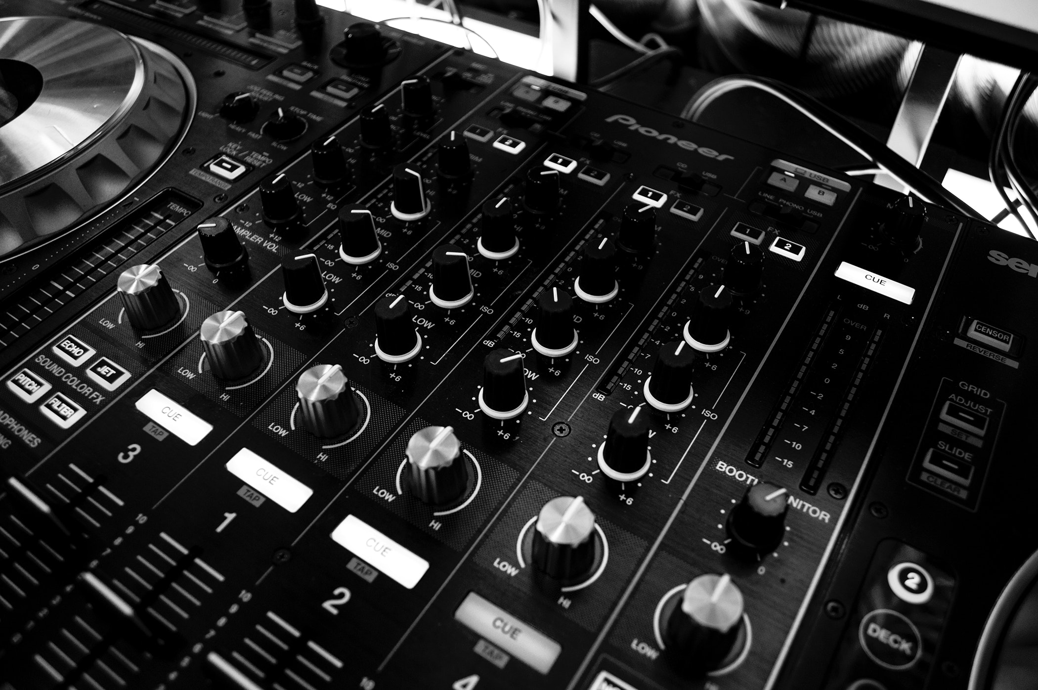 Black and silver mixing board photo
