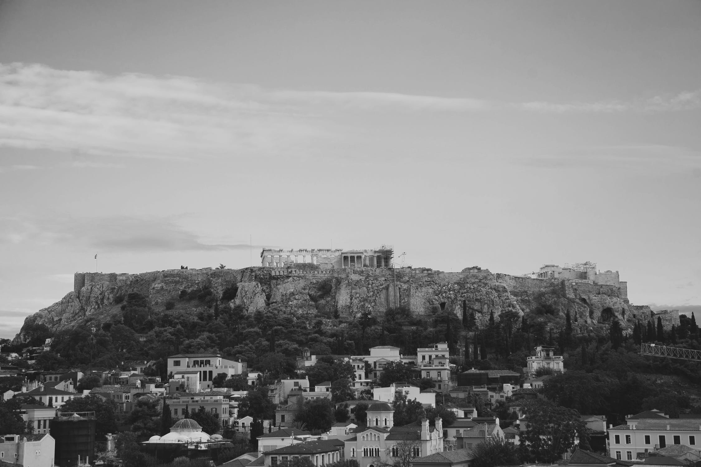 Black and white city photo