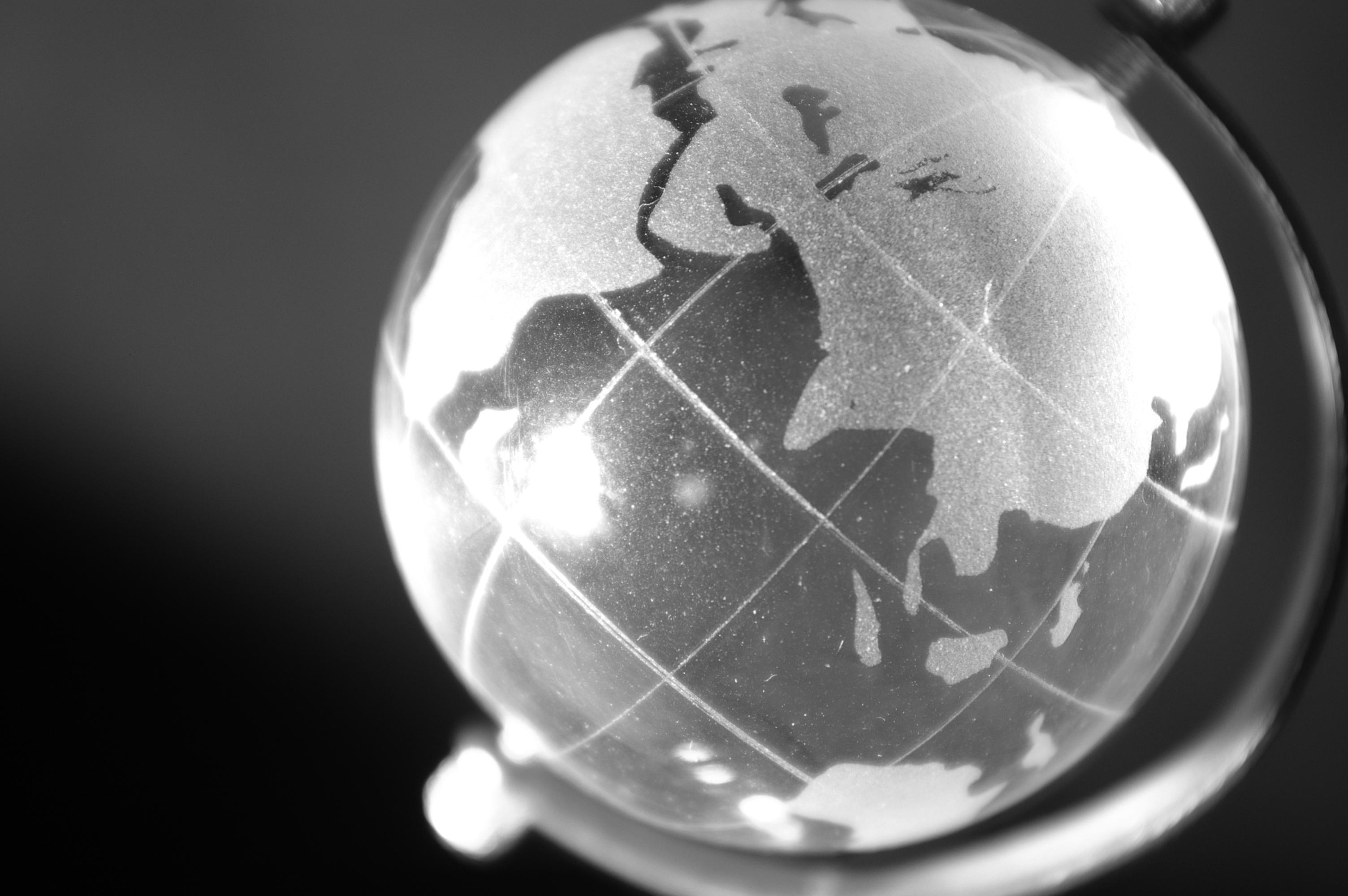 Black and white globe photo
