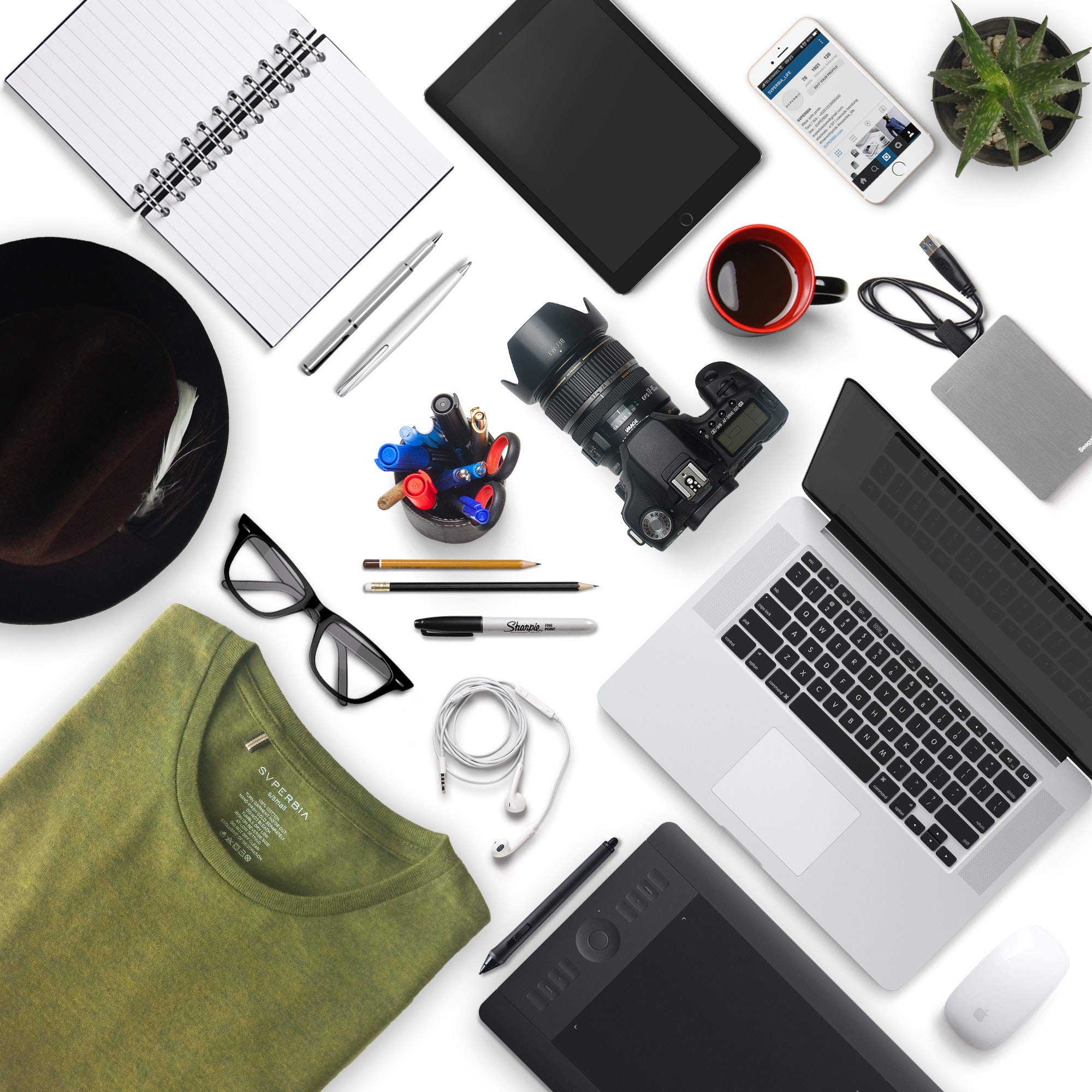Black and White Laptop Computer, Accessories, Business, Camera, Flatlay, HQ Photo
