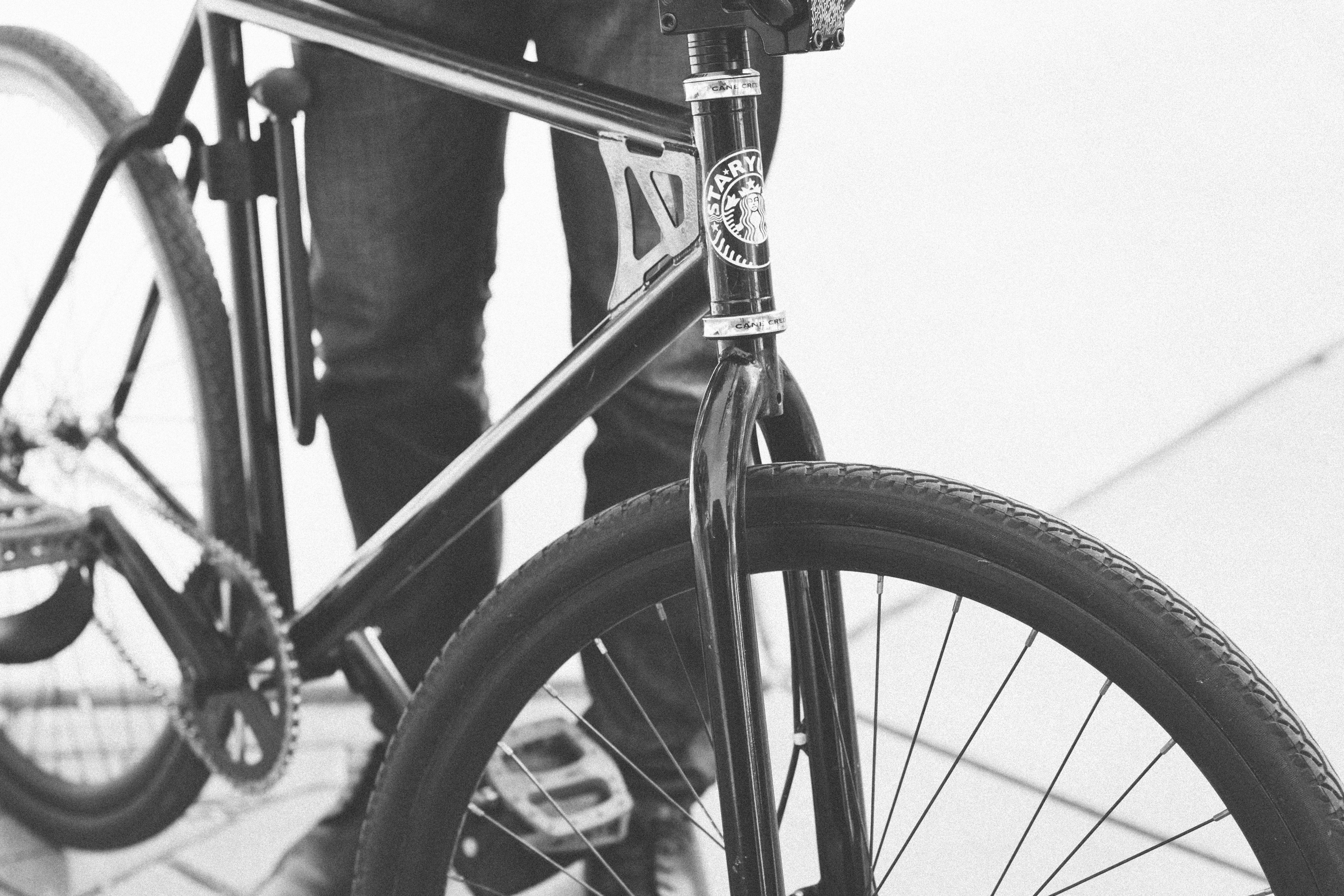 Black and white photo of bicycle