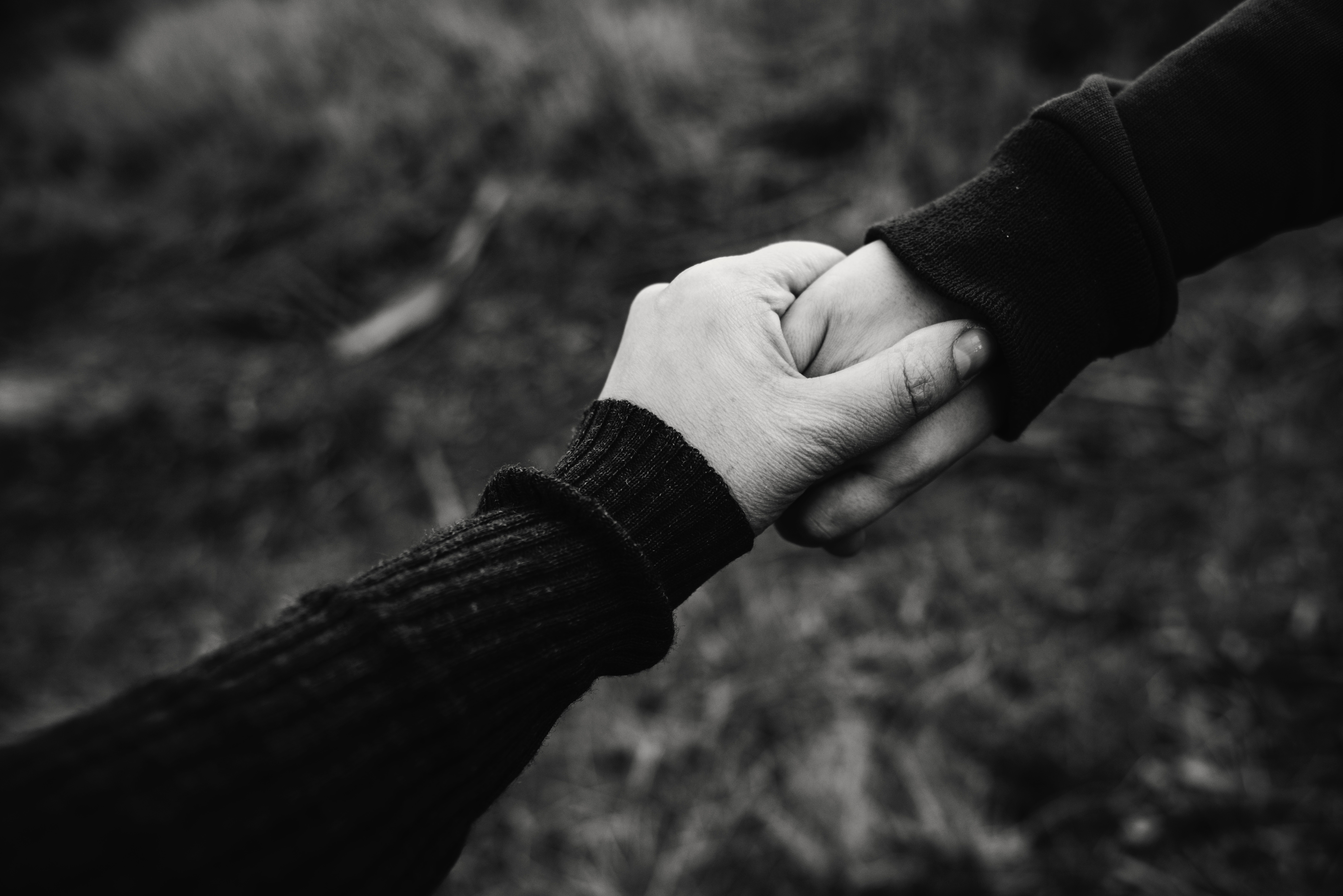 Black and White Photo of Holding Hands, Adult, Black-and-white, Blur, Close-up, HQ Photo