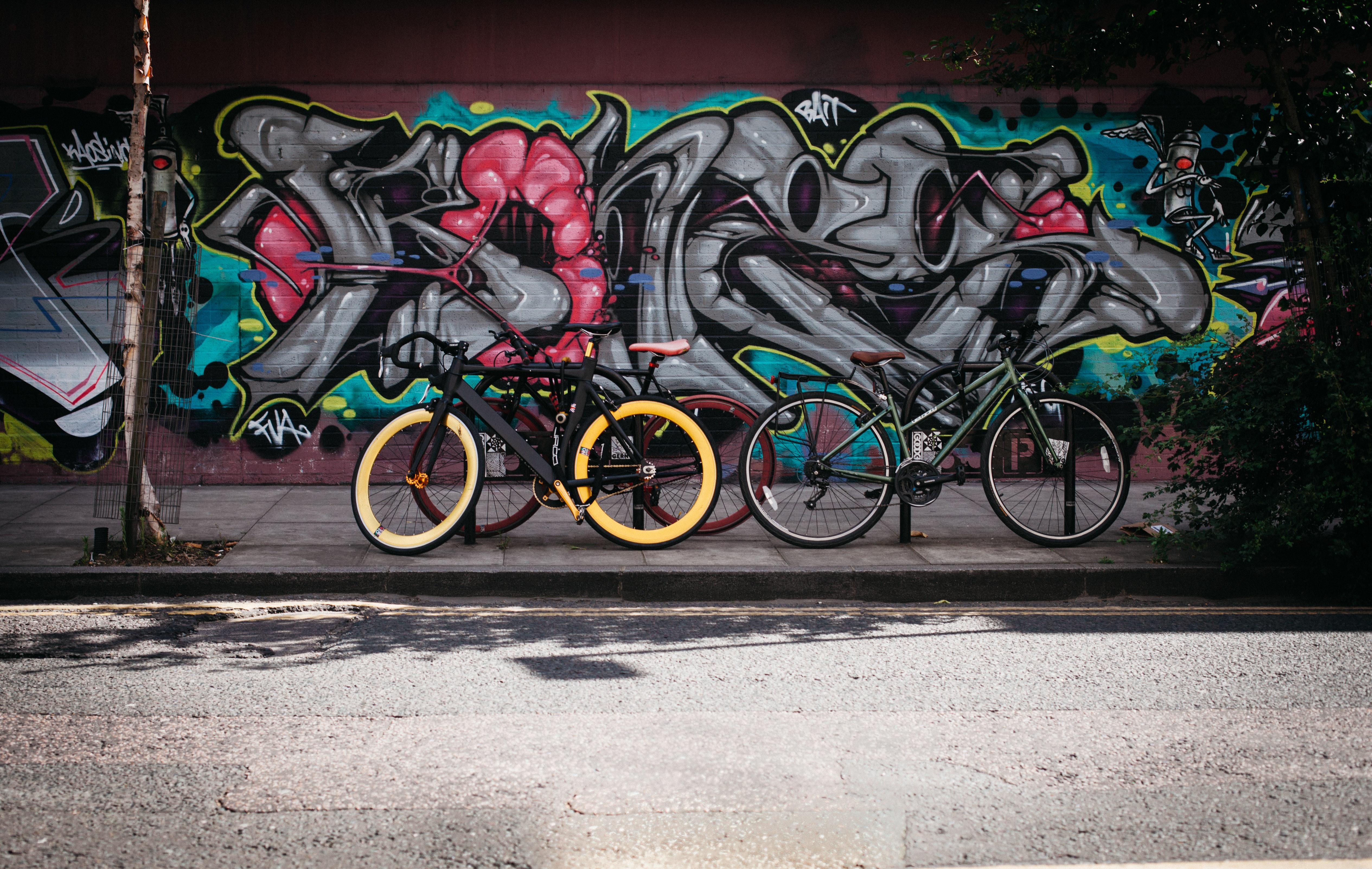 Black and yellow fatbike beside mountain bikes photo