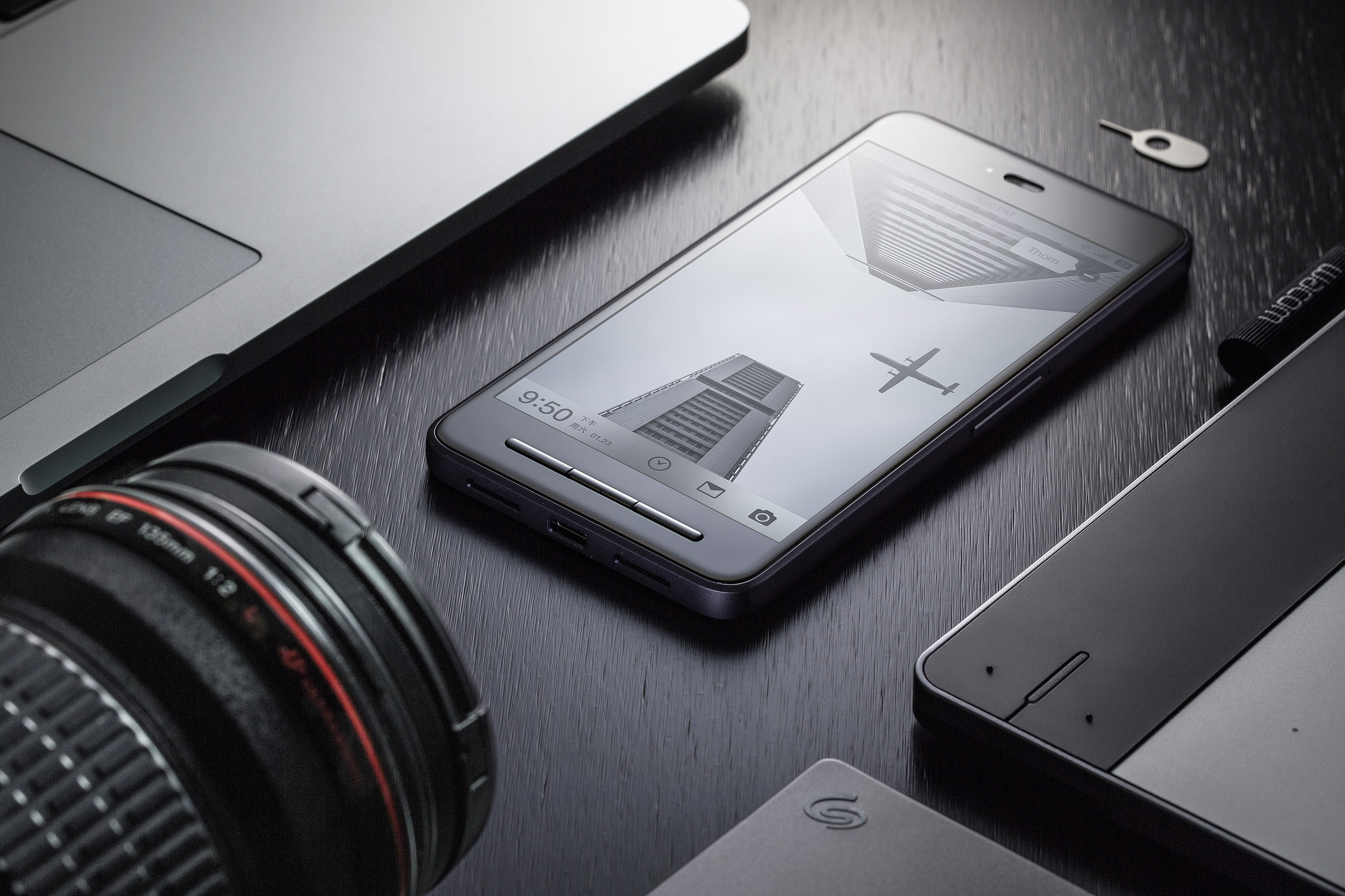 Black Android Smartphone on Black Surface, Black-and-white, Computer, Devices, Display, HQ Photo