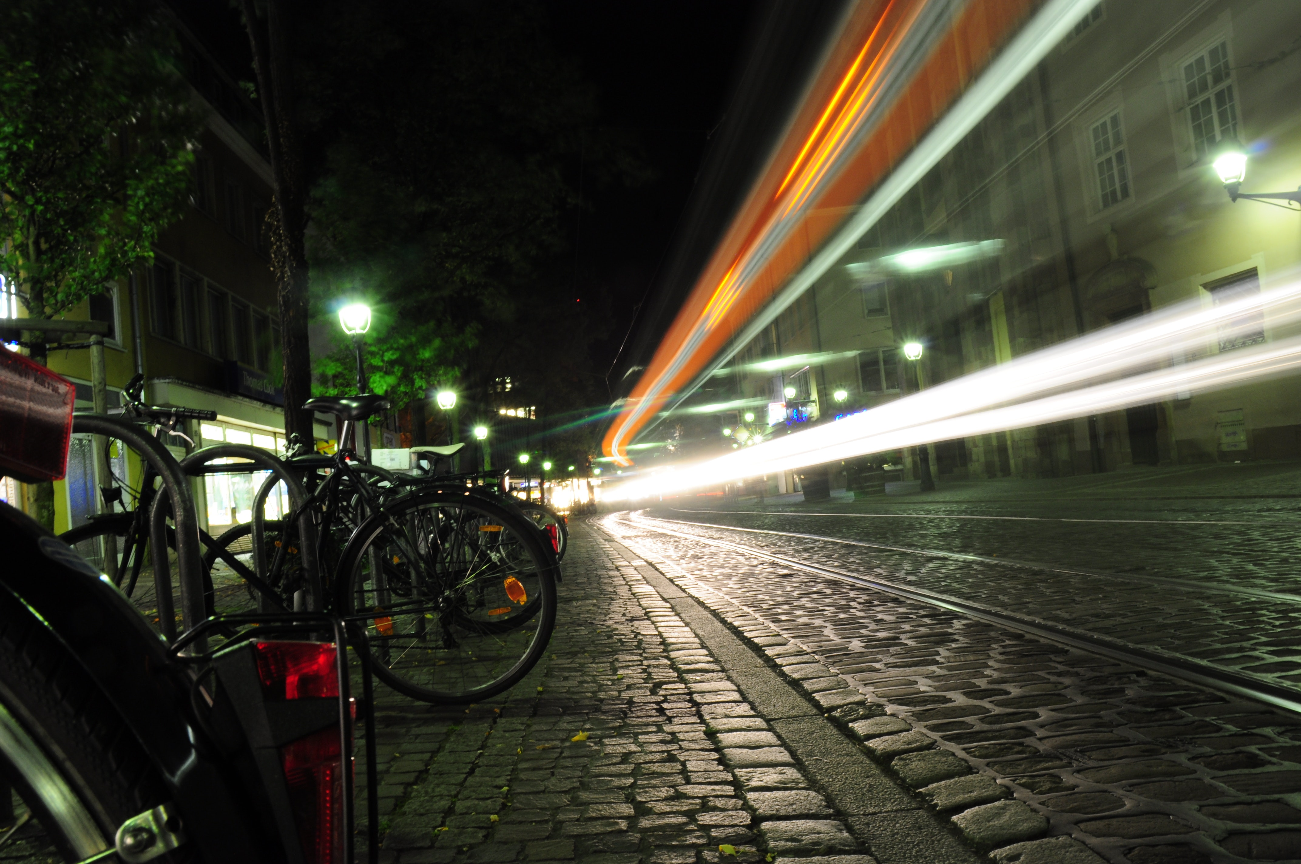 Black Bicycle Beside Pathway, Bicycle parking, Night, Travel, Transportation system, HQ Photo
