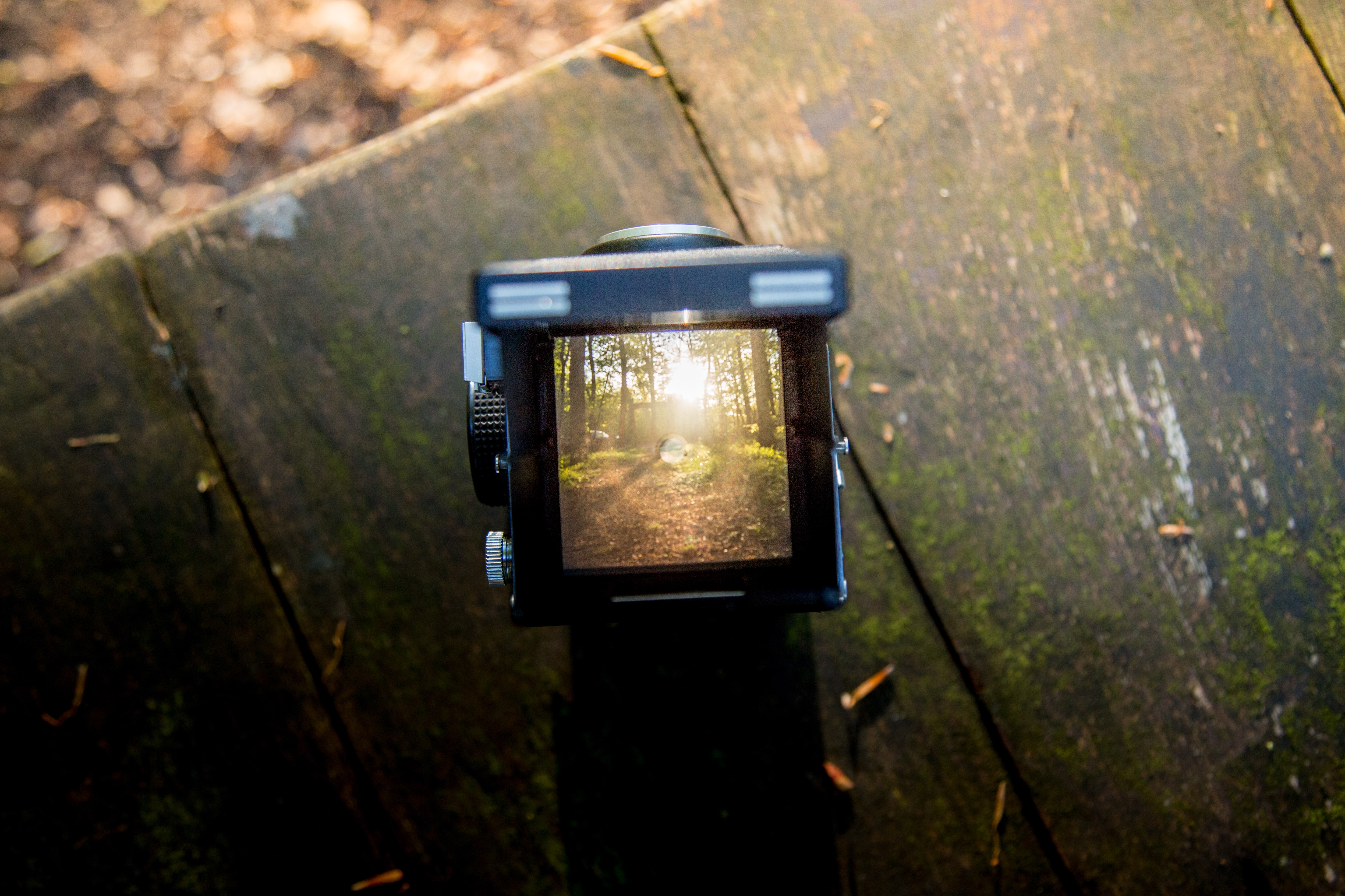 Black Camera on Brown Wooden Table, Blur, Scenic, Wood, Trees, HQ Photo